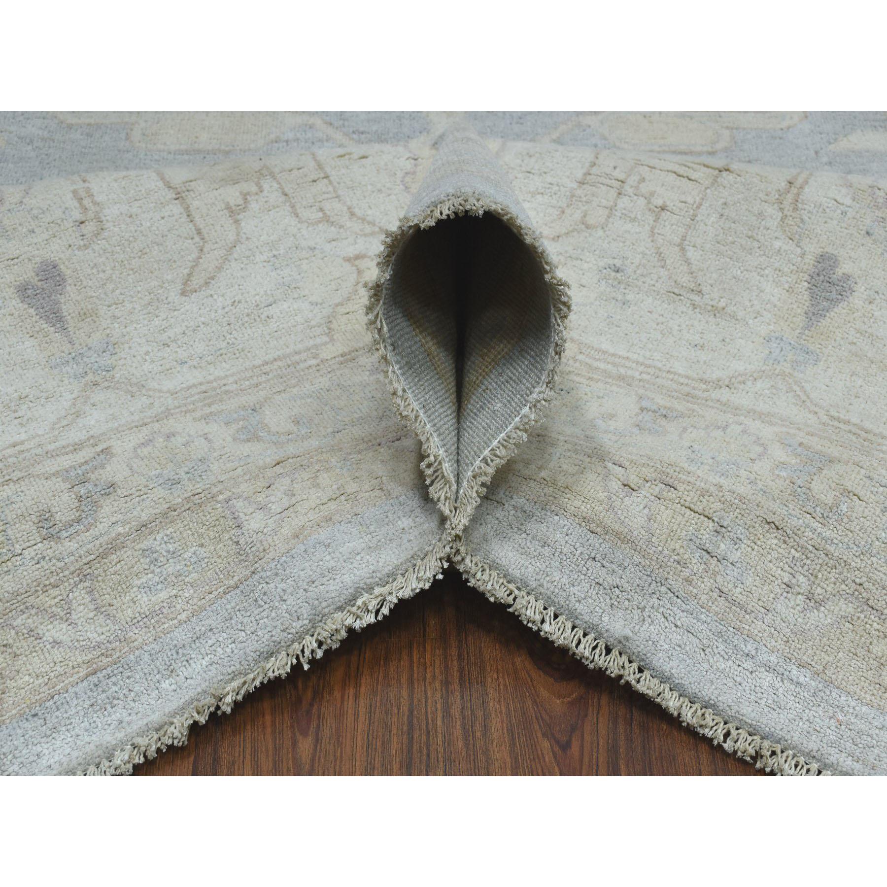 "12'x14'7"" Oversized White Wash Peshawar With Oushak Design Hand-Knotted Oriental Rug"