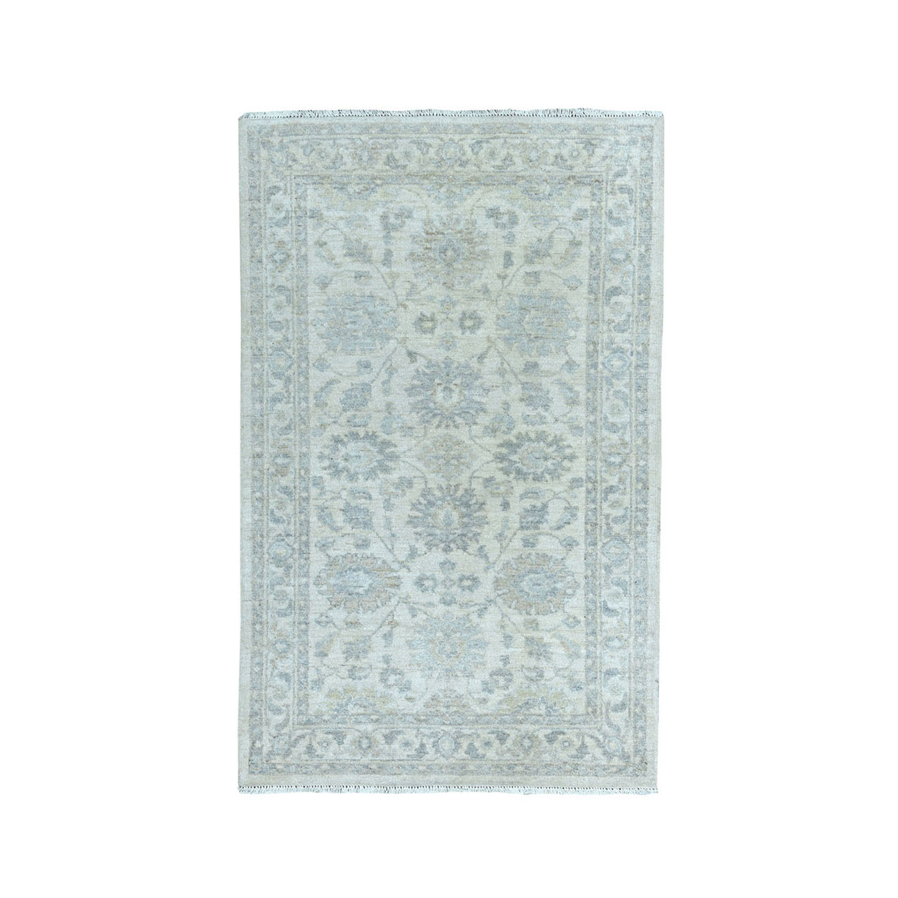 "3'X4'10"" White Wash Peshawar Pure Wool Hand-Knotted Oriental Rug moae0860"