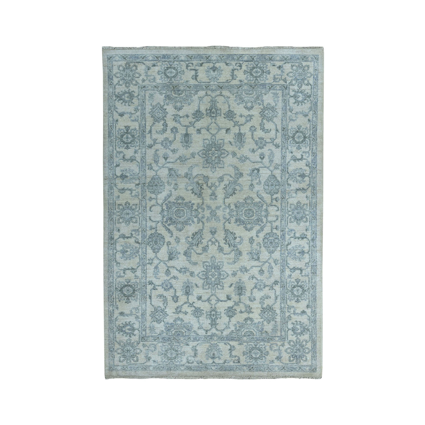 4'X6' White Wash Peshawar Pure Wool Hand-Knotted Oriental Rug moae086a