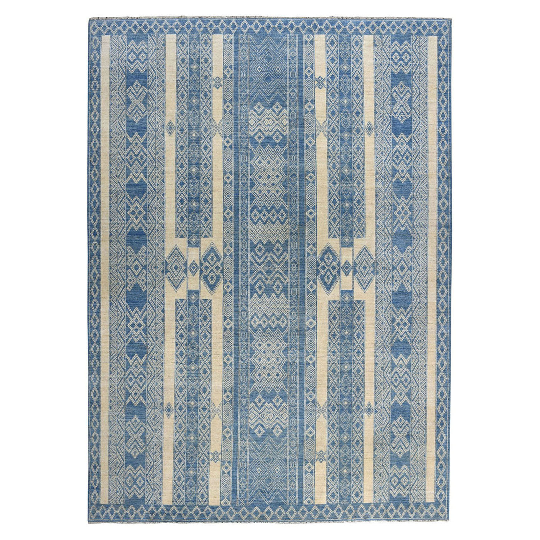"8'9""X11'10"" Pure Wool Southwestern Peshawar Berber Motif Influence Design Hand-Knotted Oriental Rug moae086b"