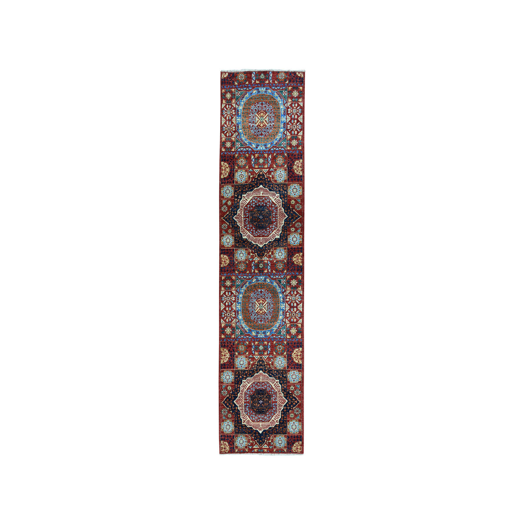 "2'10""x10' Colorful Peshawar Mamluk Design Pure Wool Hand-Knotted Runner Oriental Rug"