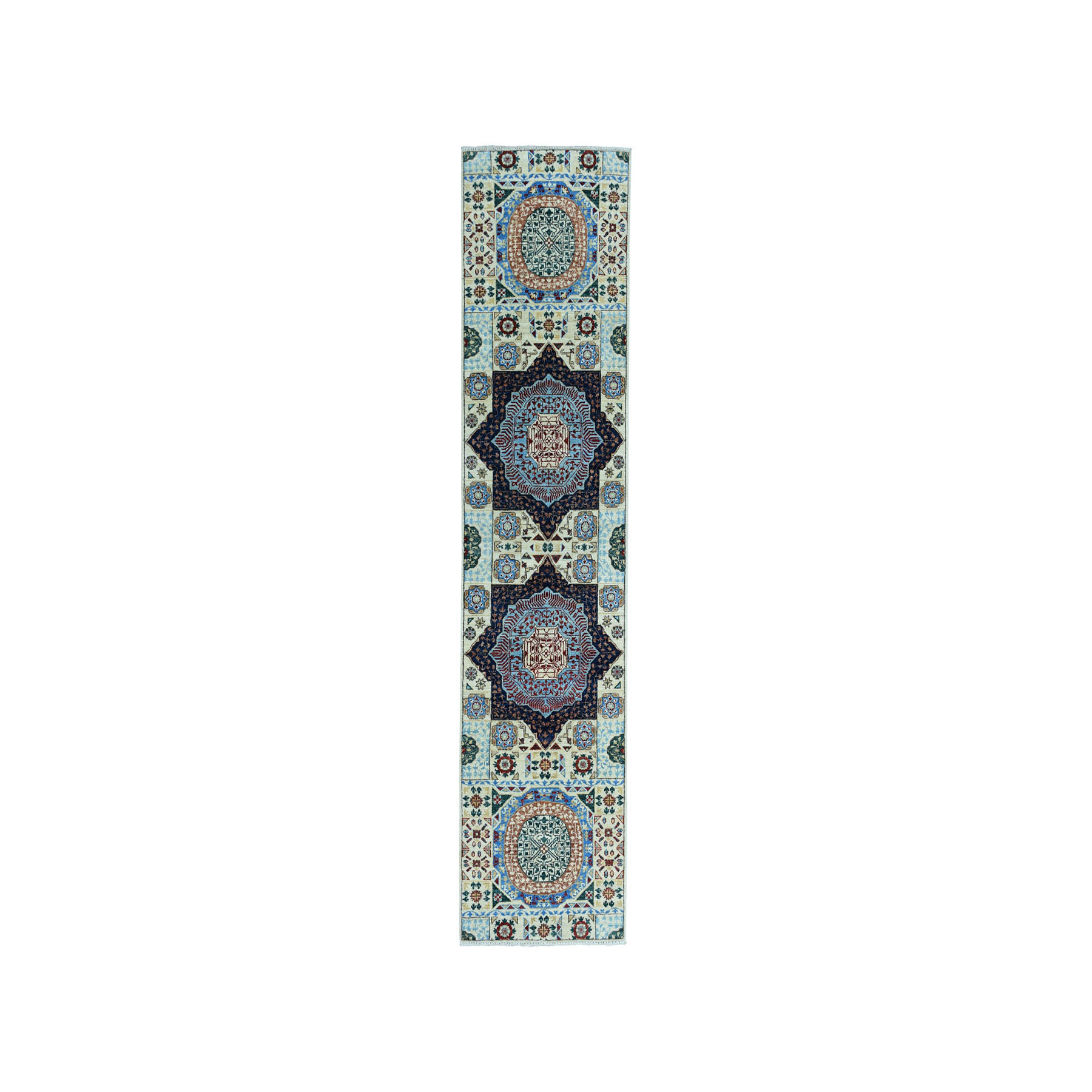 "2'7""x10'2"" Colorful Peshawar Mamluk Design Pure Wool Runner Hand-Knotted Oriental Rug"