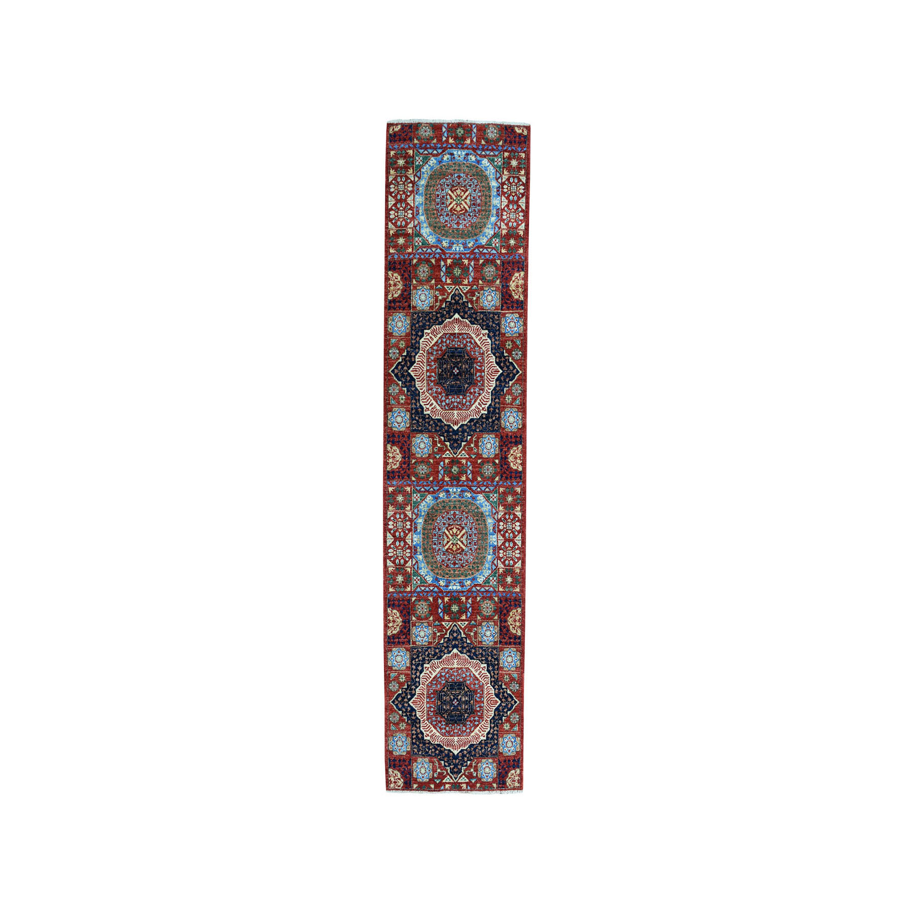 "2'7""X9'10"" Colorful Peshawar Mamluk Design Pure Wool Runner Hand-Knotted Oriental Rug moae086e"