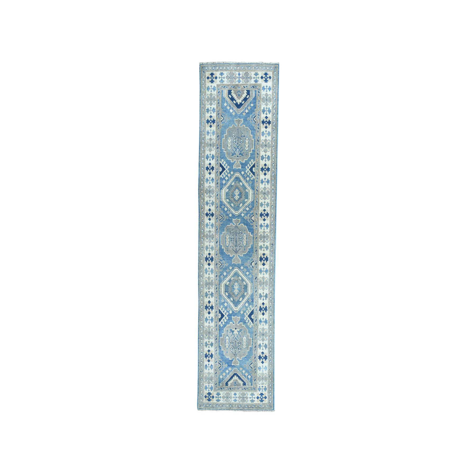 "2'8""X9'7"" Vintage Look Kazak Geometric Design Blue Runner Pure Wool Hand-Knotted Oriental Rug moae0866"