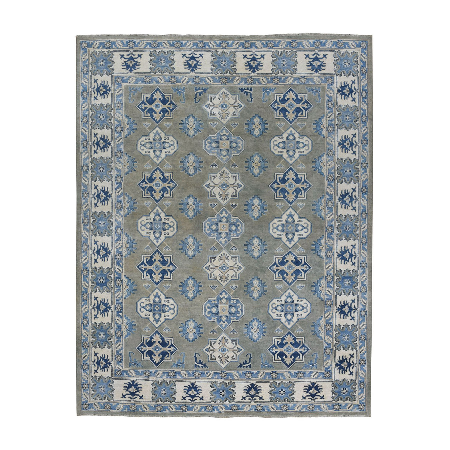 "8'1""X10' Gray Vintage Look Kazak Geometric Design Pure Wool Hand-Knotted Oriental Rug moae0867"