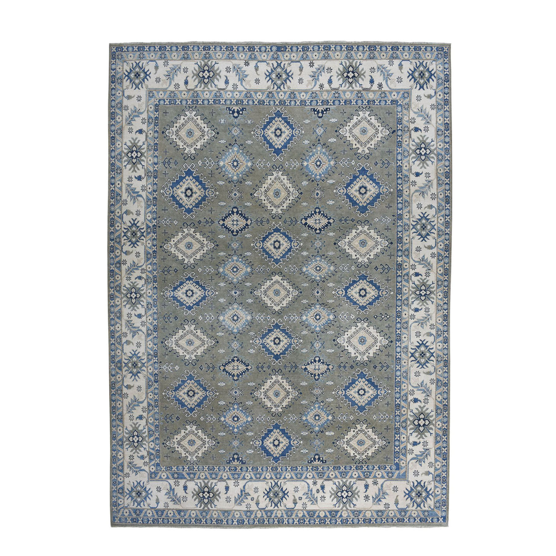 "10'X13'3"" Gray Vintage Look Kazak Geometric Design Pure Wool Hand-Knotted Oriental Rug moae0868"