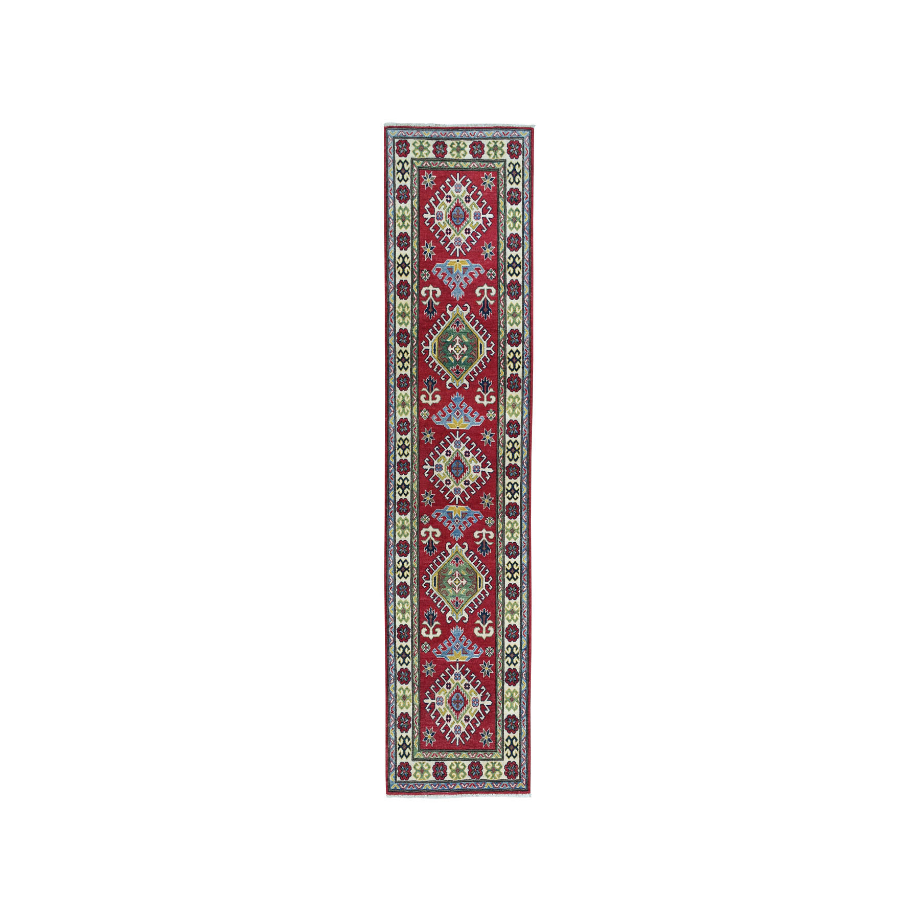 "2'8""X9'8"" Red Geometric Design Kazak Pure Wool Hand-Knotted Runner Oriental Rug moae0869"