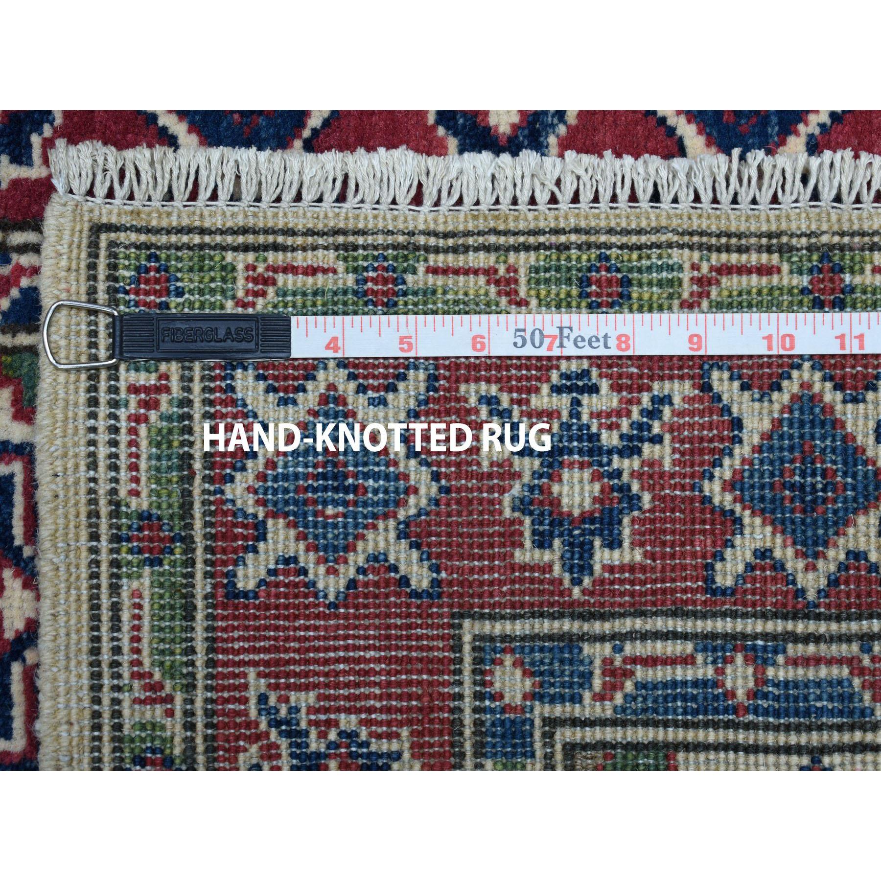 2-9 x9-8  Ivory Geometric Design Kazak Runner Pure Wool Hand-Knotted Oriental Rug