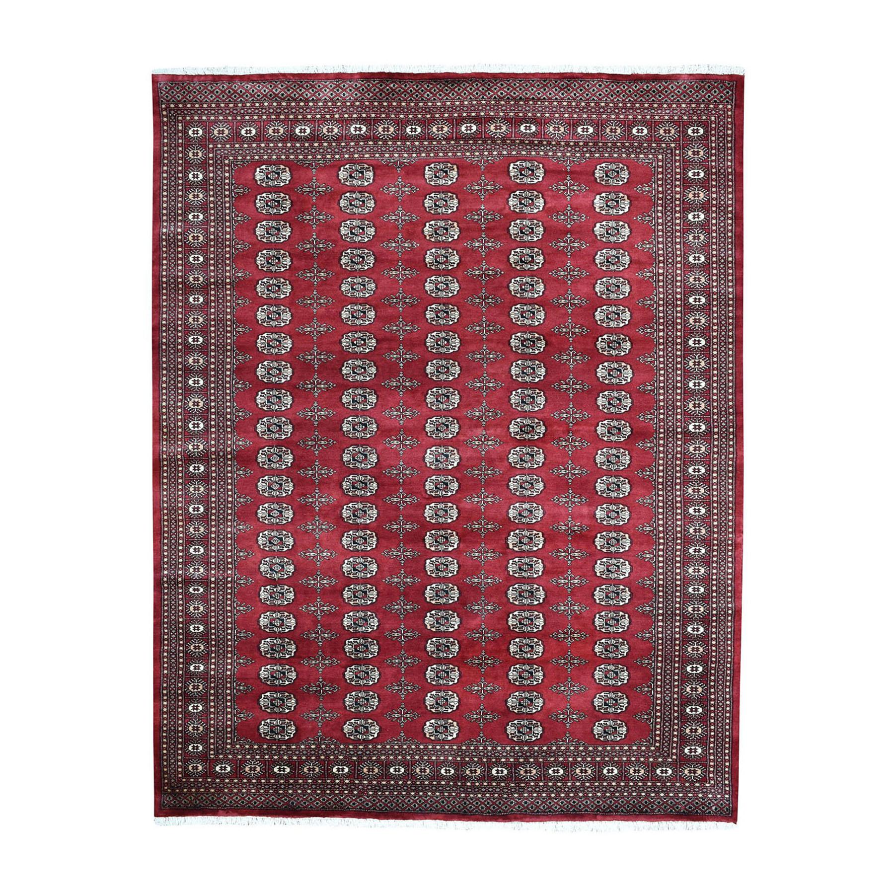 "8'2""X9'10"" Red Hand-Knotted Mori Bokara Elephant Feet Design Pure Wool Oriental Rug moae087b"