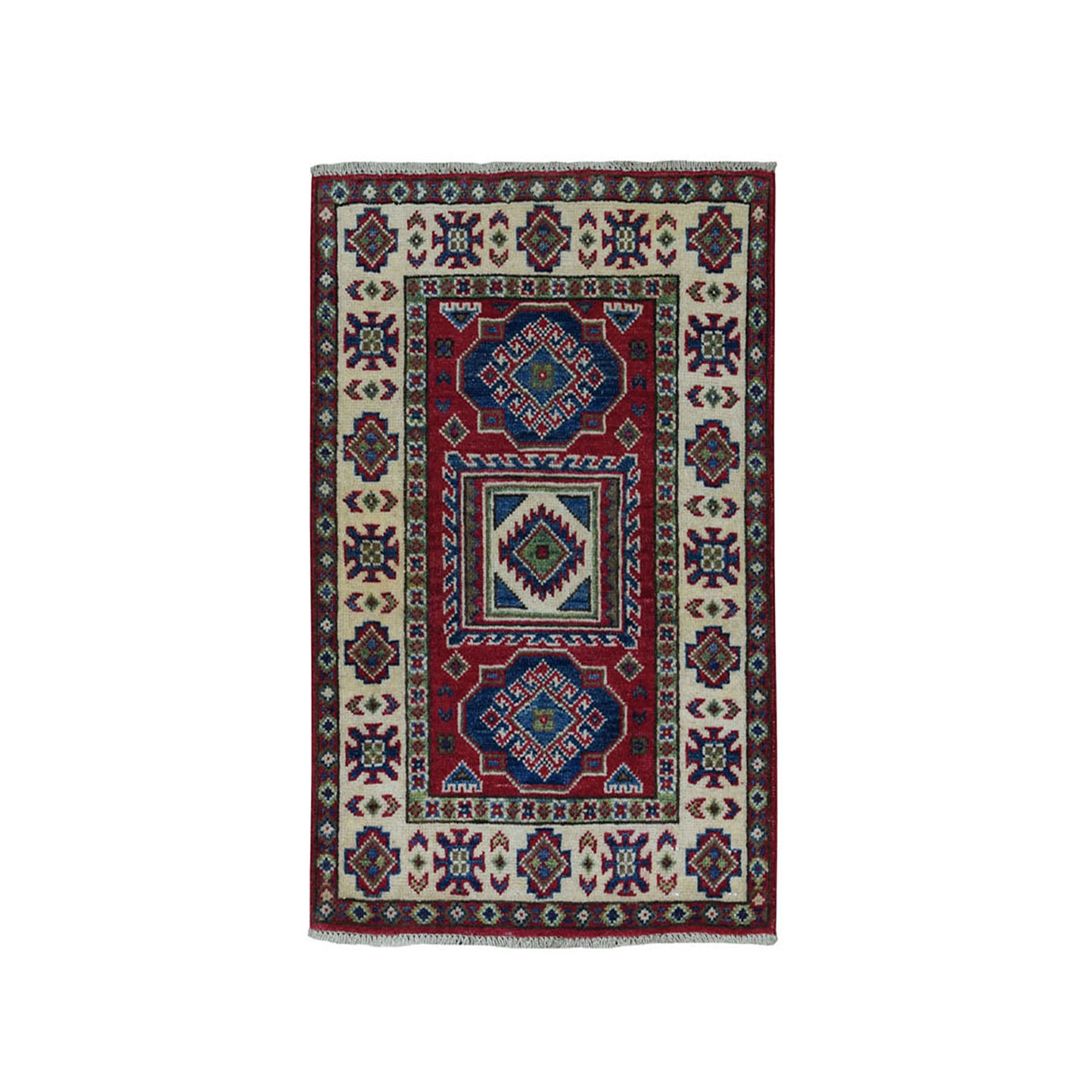 2'X3' Red Kazak Pure Wool Geometric Design Hand-Knotted Oriental Rug moae087e