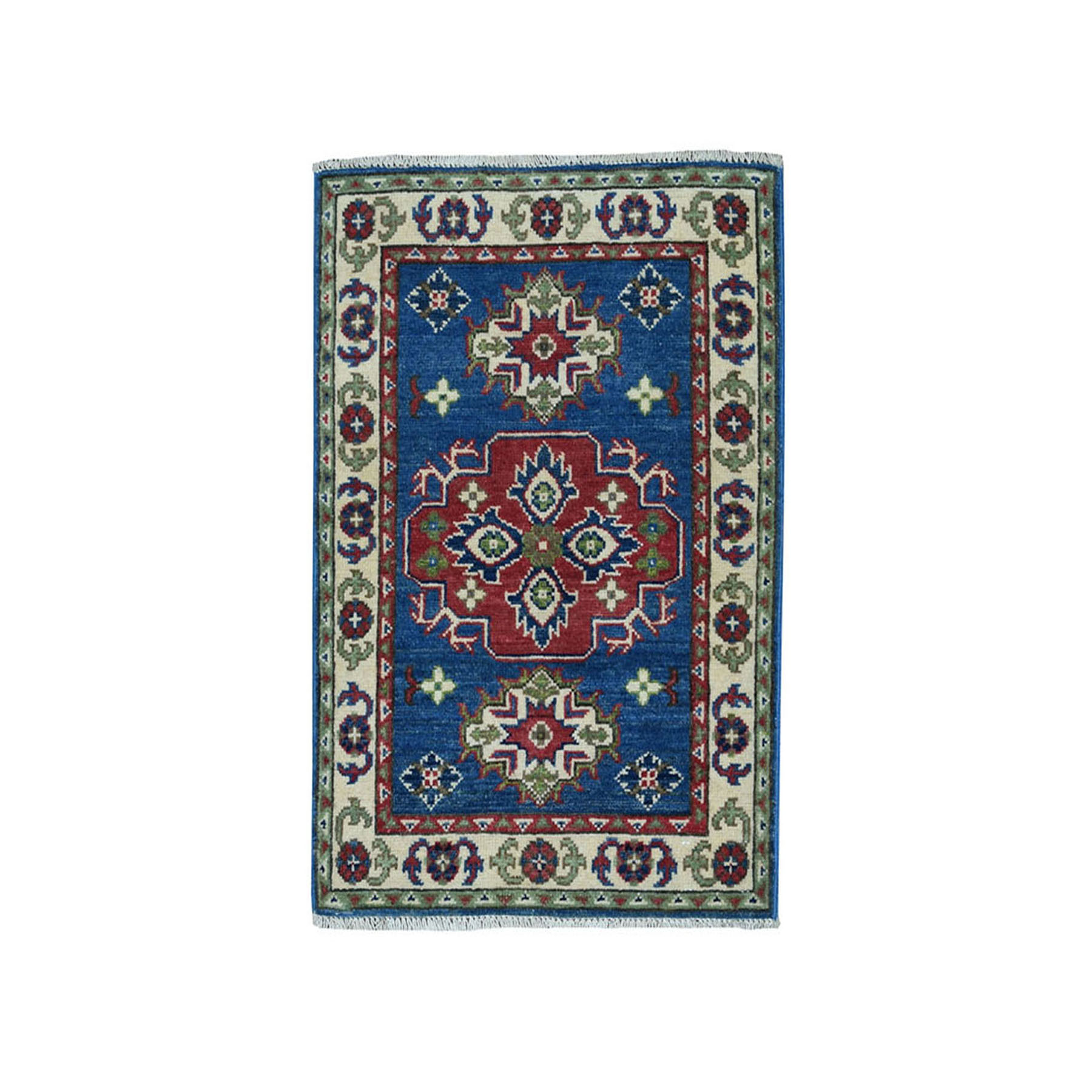 "2'x2'9"" Blue Geometric Design Kazak Pure Wool Hand-Knotted Oriental Rug"