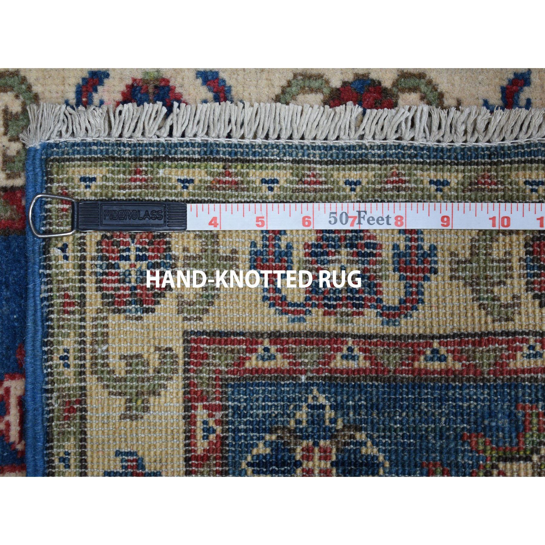 2-x2-9  Blue Geometric Design Kazak Pure Wool Hand-Knotted Oriental Rug