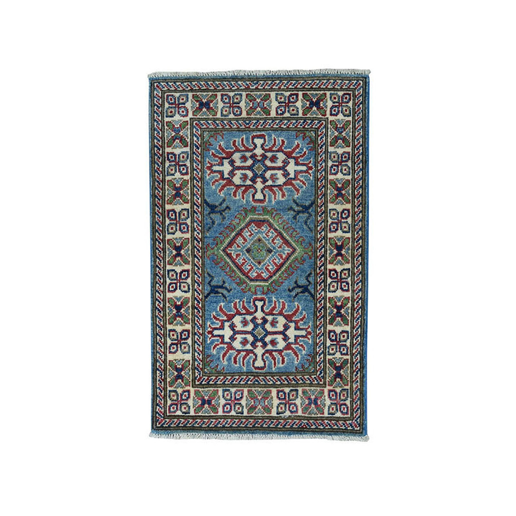 "2'X2'10"" Denim Blue Geometric Design Kazak Pure Wool Hand-Knotted Oriental Rug moae0877"