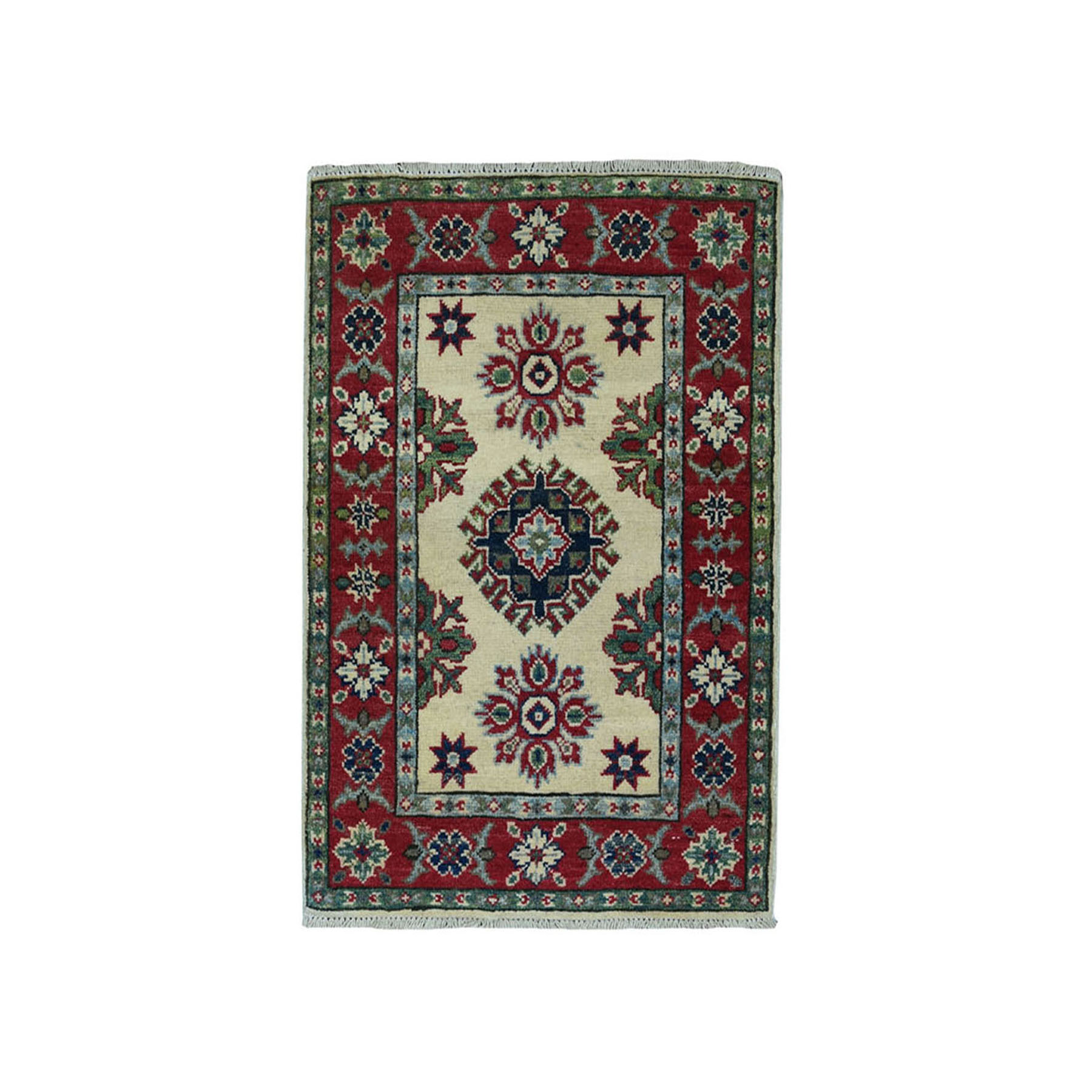 "2'x2'9"" Ivory Geometric Design Kazak Pure Wool Hand-Knotted Oriental Rug"