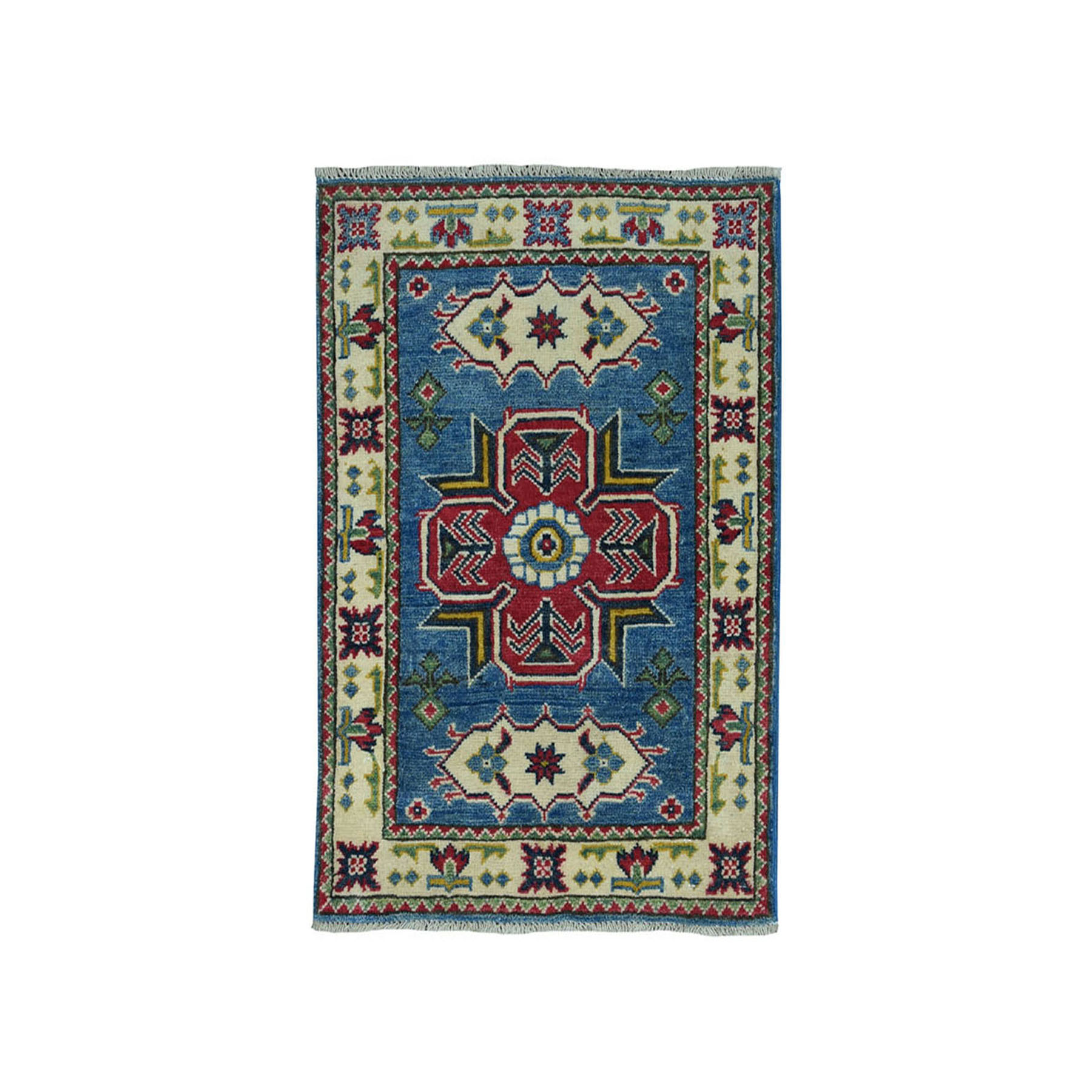 "2'1""x3' Blue Geometric Design Kazak Pure Wool Hand-Knotted Oriental Rug"