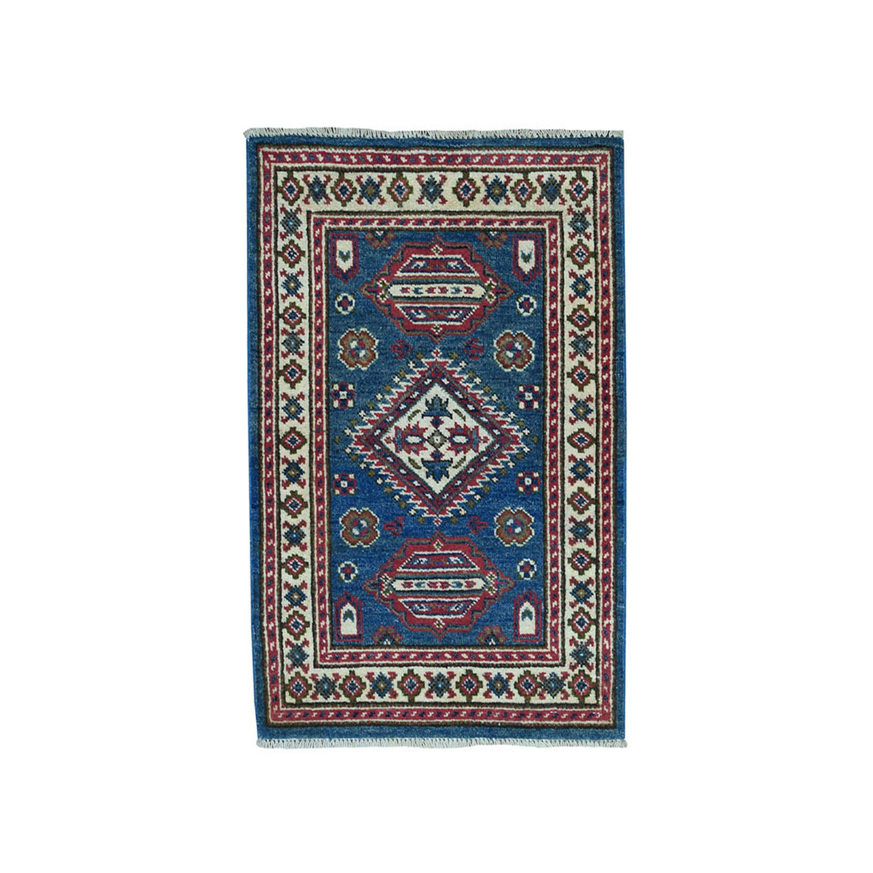 2'x3' Blue Geometric Design Kazak Pure Wool Hand-Knotted Oriental Rug