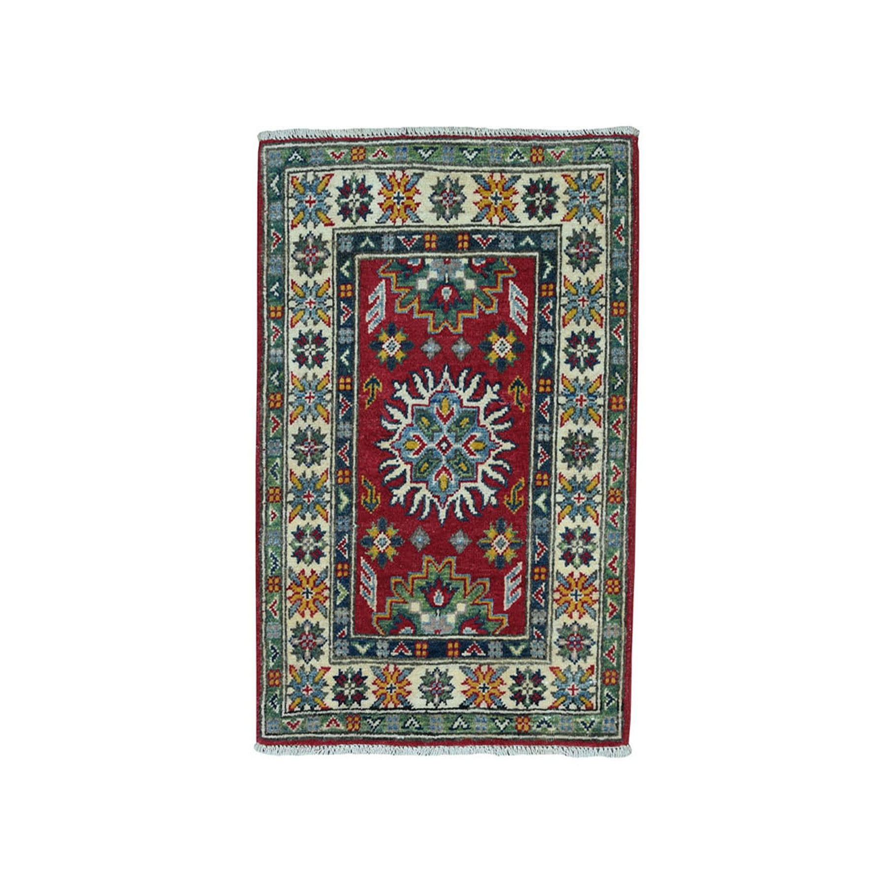 "2'X2'10"" Red Geometric Design Kazak Pure Wool Hand-Knotted Oriental Rug moae088e"