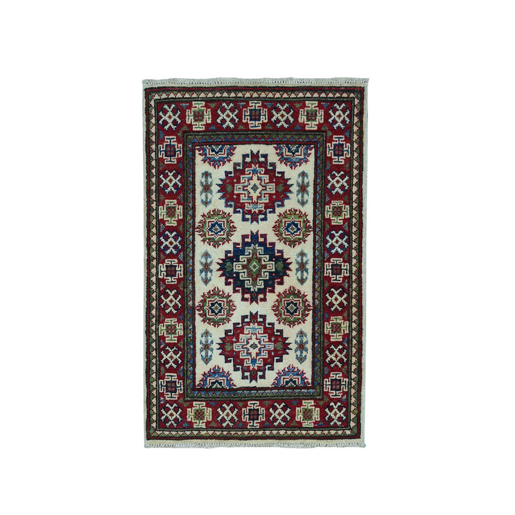 "2'X2'10"" Ivory Kazak Geometric Design Pure Wool Hand-Knotted Oriental Rug moae0887"