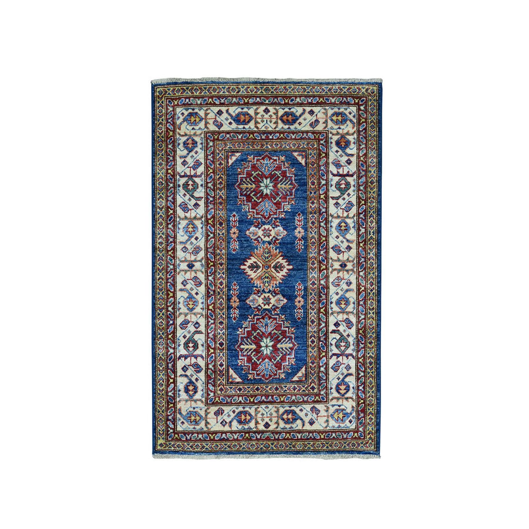 3'X4' Blue Super Kazak Pure Wool Geometric Design Hand-Knotted Oriental Rug moae0889