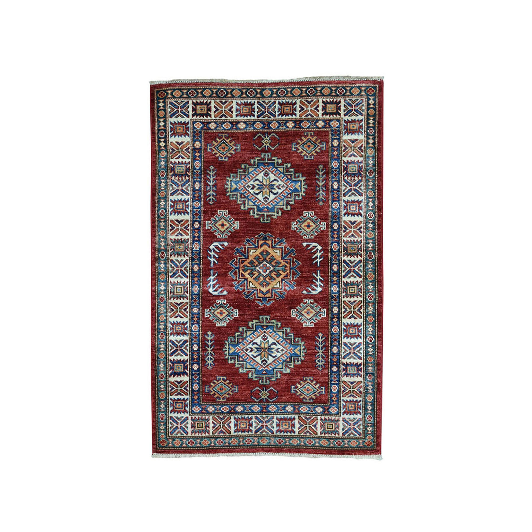 "2'8""X3'10"" Red Super Kazak Pure Wool Geometric Design Hand-Knotted Oriental Rug moae0890"