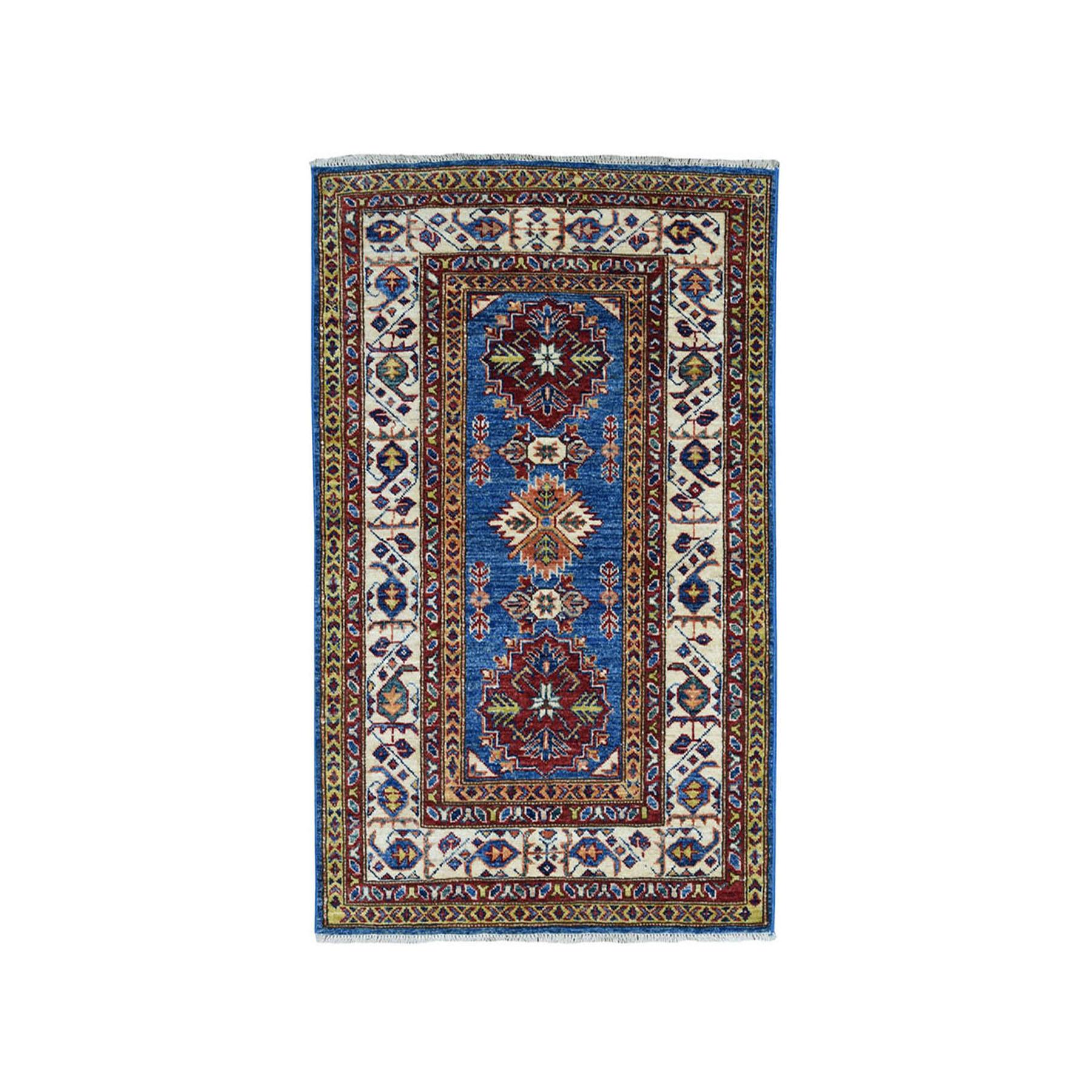 "2'9""X4'2"" Blue Super Kazak Pure Wool Geometric Design Hand-Knotted Oriental Rug moae089a"