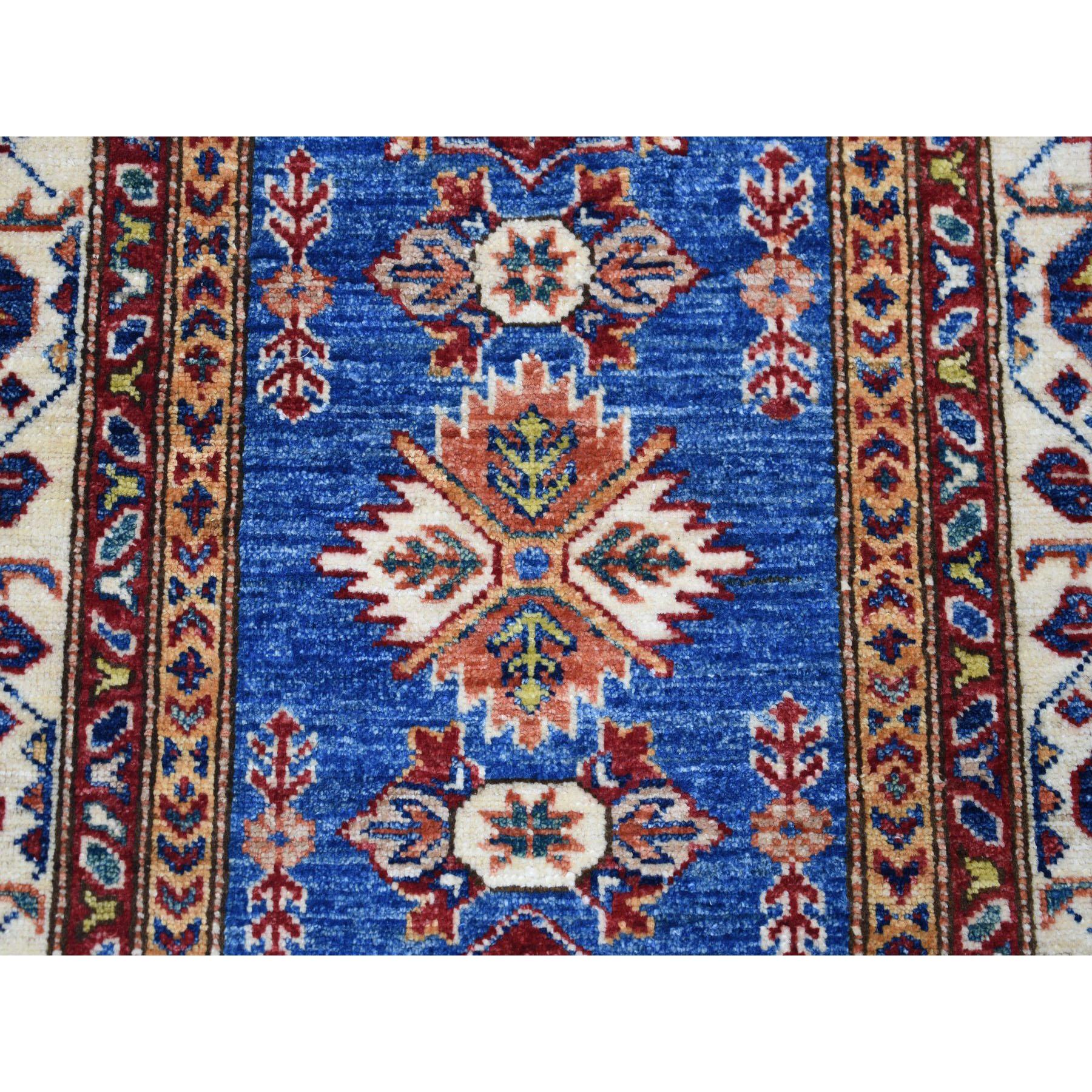 2-9 x4-2  Blue Super Kazak Pure Wool Geometric Design Hand-Knotted Oriental Rug
