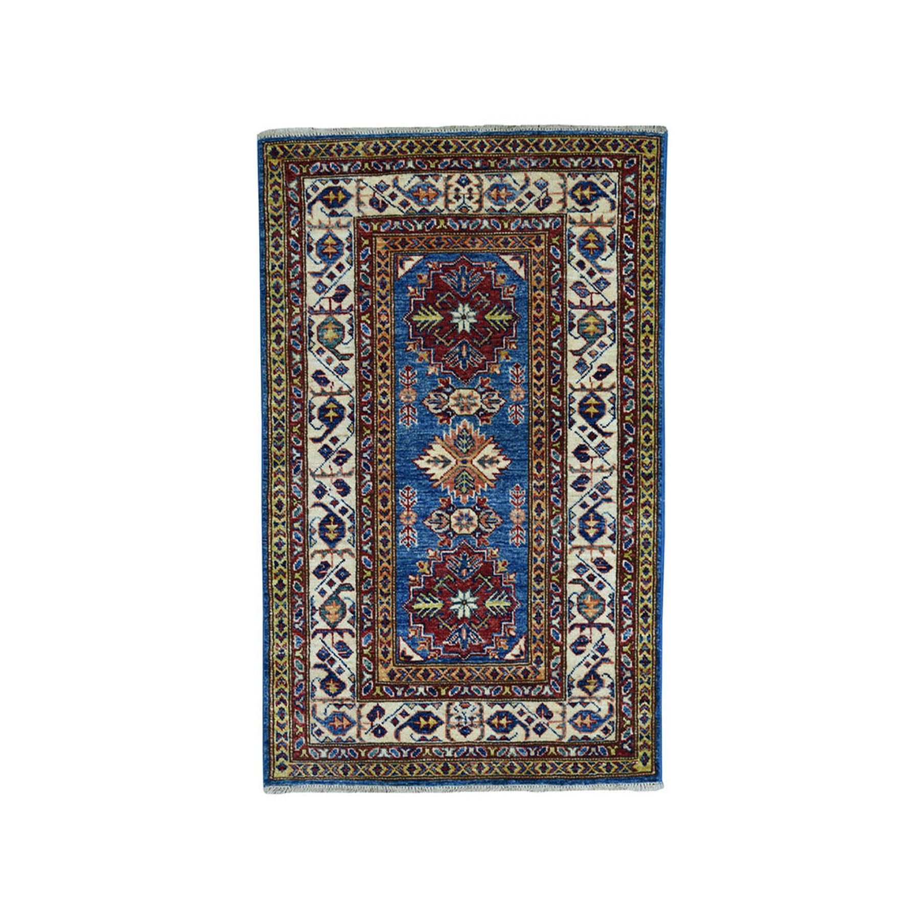"2'8""X4' Blue Super Kazak Pure Wool Geometric Design Hand-Knotted Oriental Rug moae089b"