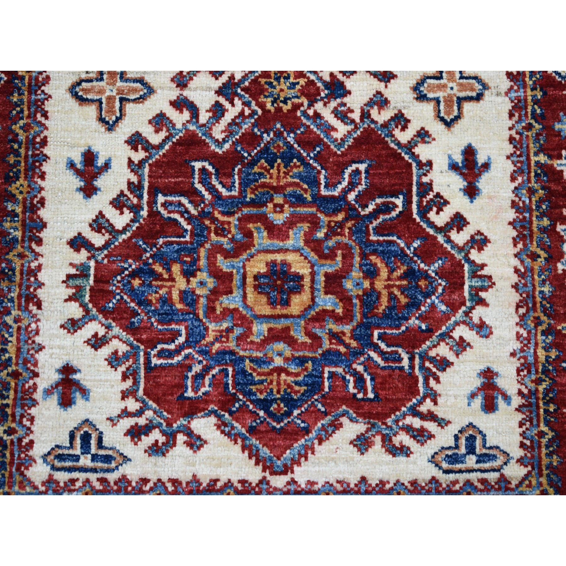 2-8 x4-7  Ivory Super Kazak Pure Wool Geometric Design Hand-Knotted Oriental Rug
