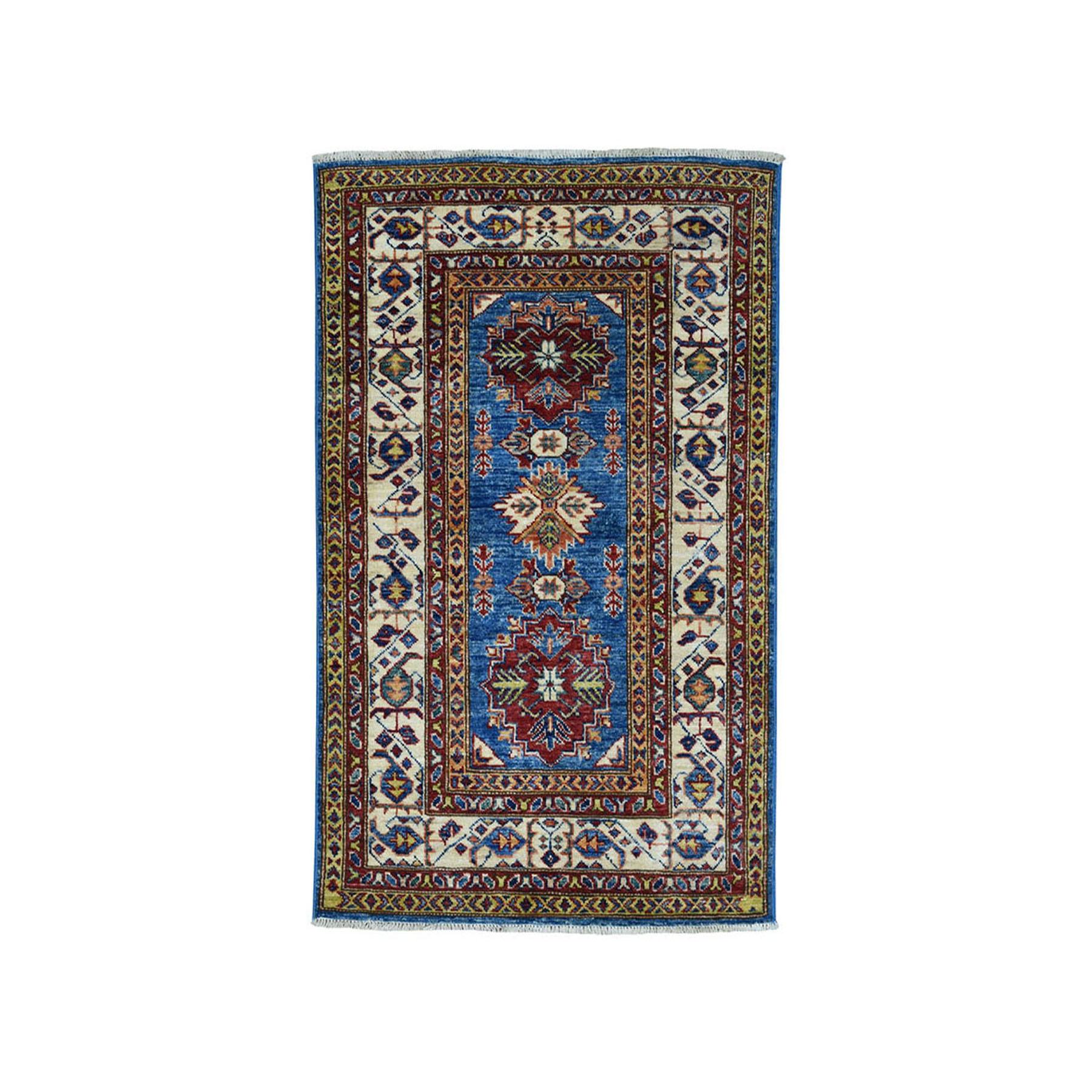 "2'9""X4'2"" Blue Super Kazak Pure Wool Geometric Design Hand-Knotted Oriental Rug moae089d"