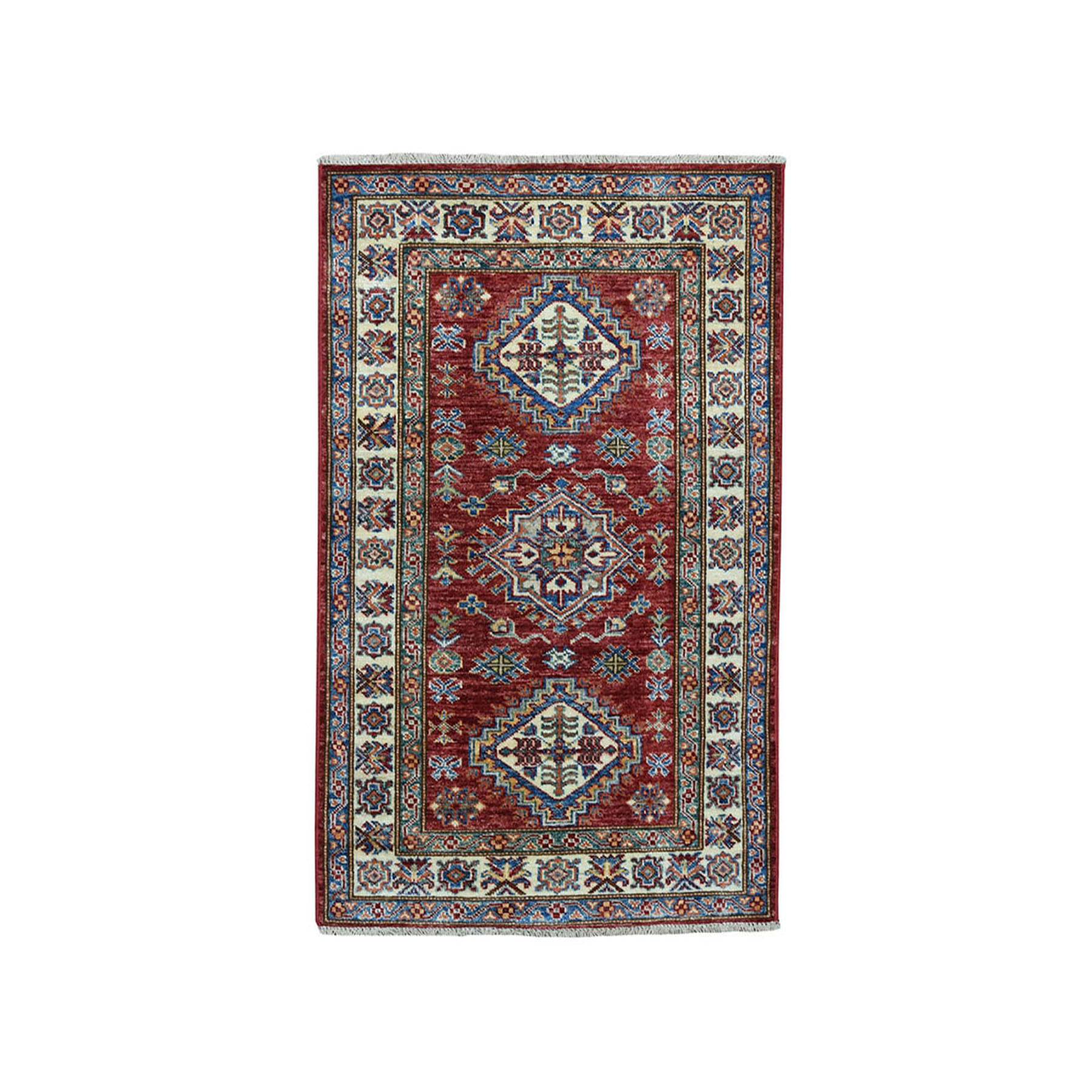 "2'6""X4' Red Super Kazak Pure Wool Geometric Design Hand-Knotted Oriental Rug moae089e"