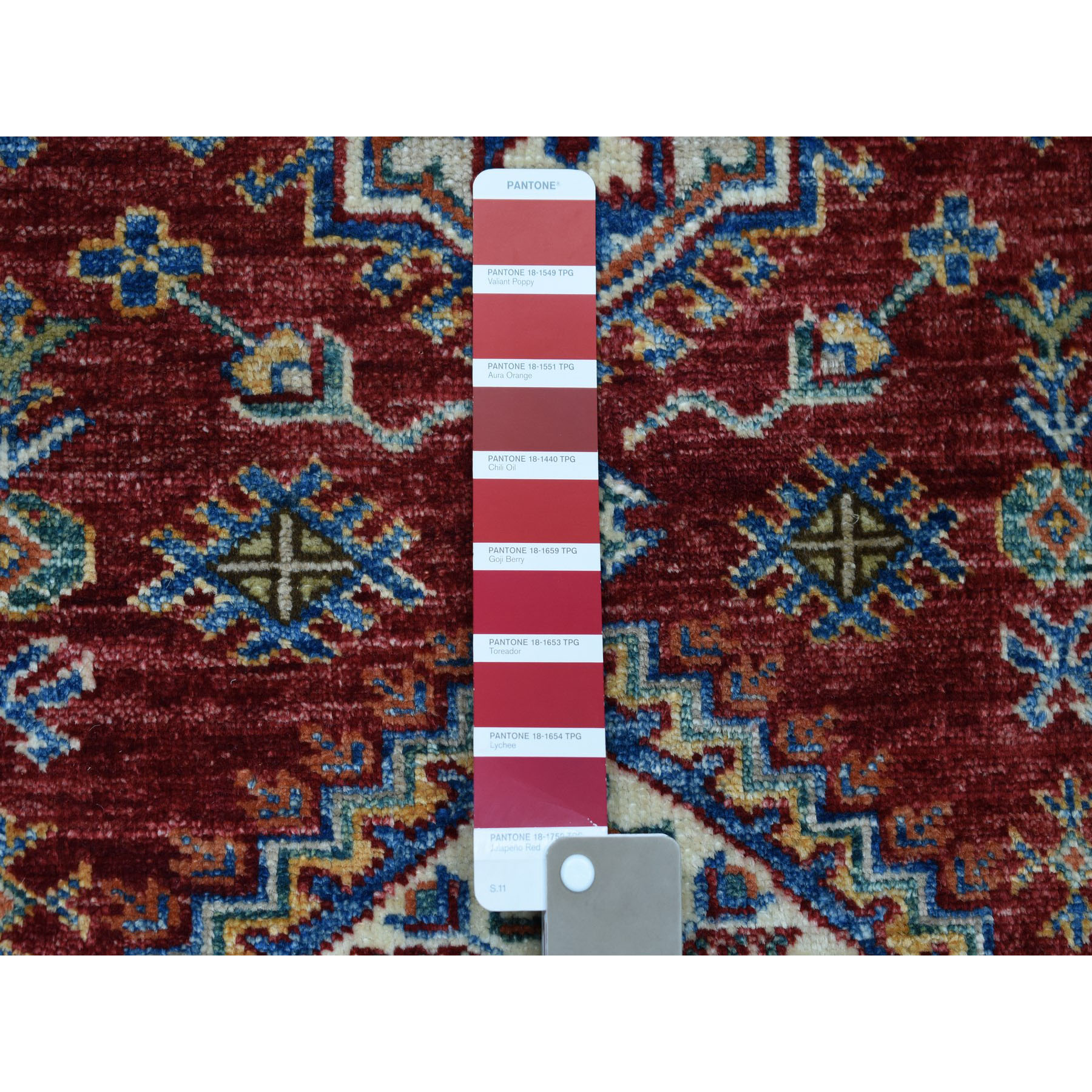 2-6 x4- Red Super Kazak Pure Wool Geometric Design Hand-Knotted Oriental Rug