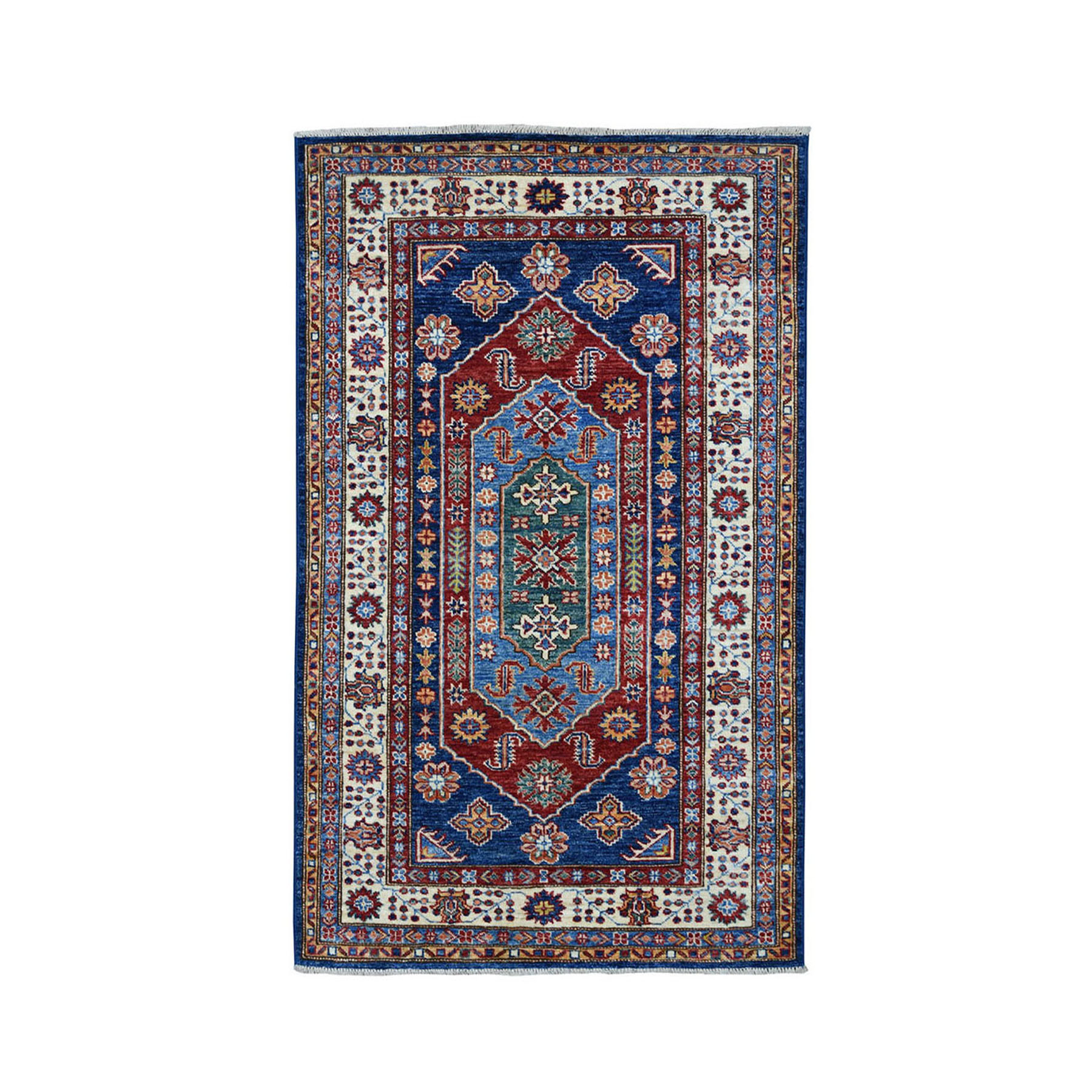 "3'4""X5'2"" Blue Super Kazak Geometric Design Pure Wool Hand-Knotted Oriental Rug moae0897"