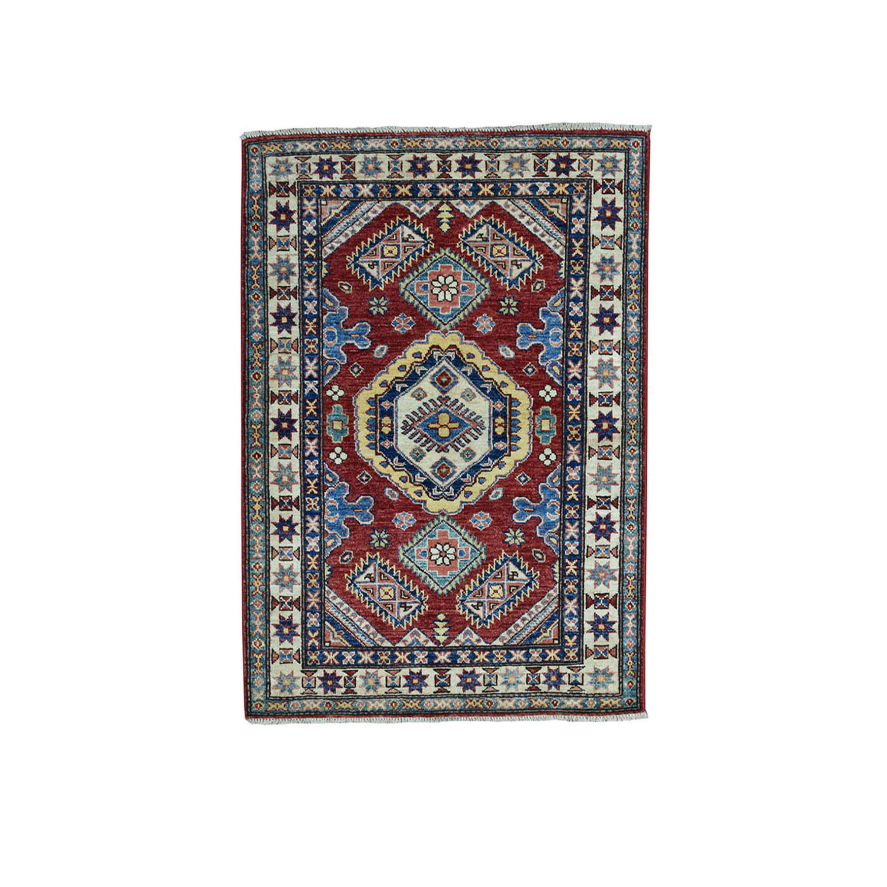 "3'1""X4' Red Super Kazak Pure Wool Geometric Design Hand-Knotted Oriental Rug moae0900"