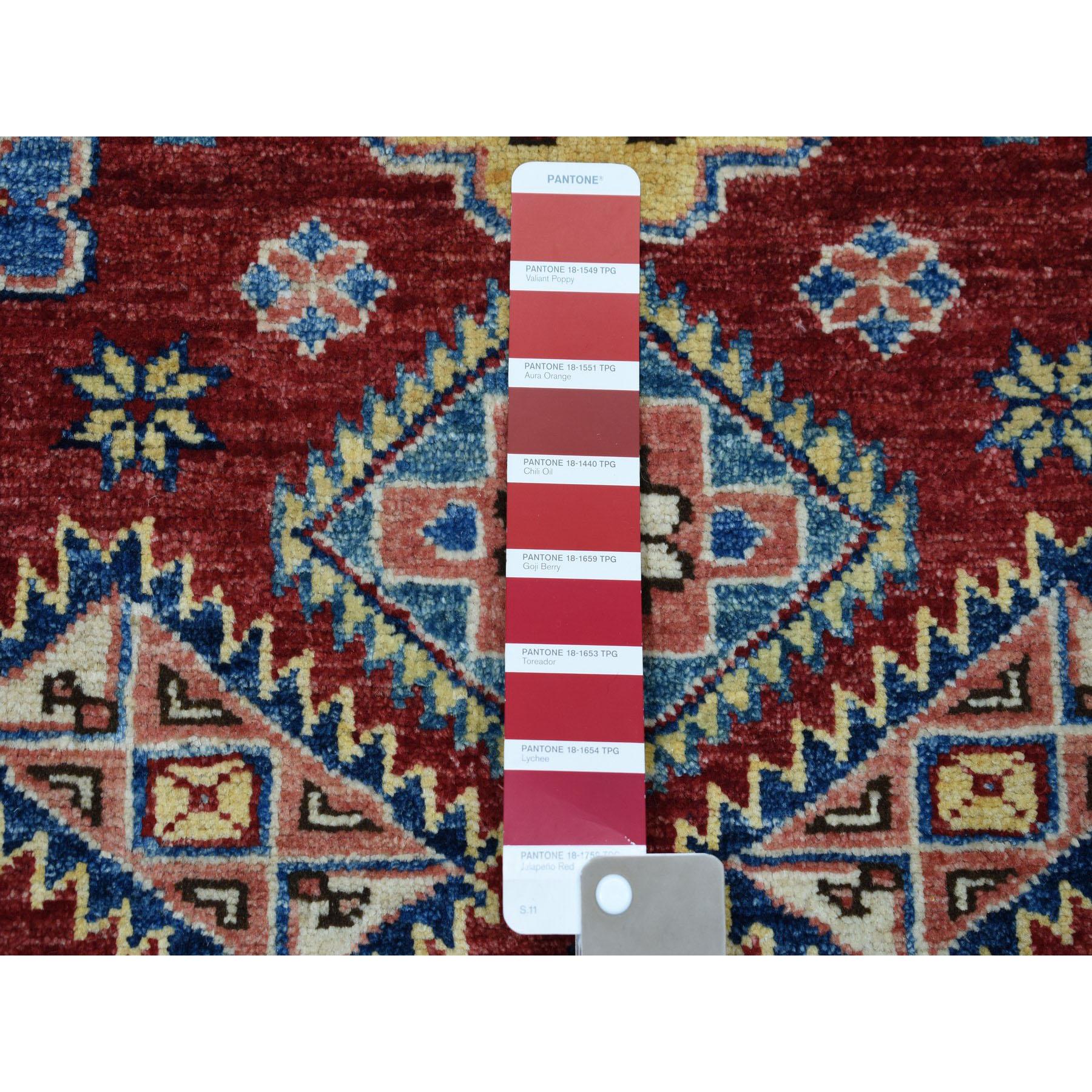 3-1 x4- Red Super Kazak Pure Wool Geometric Design Hand-Knotted Oriental Rug