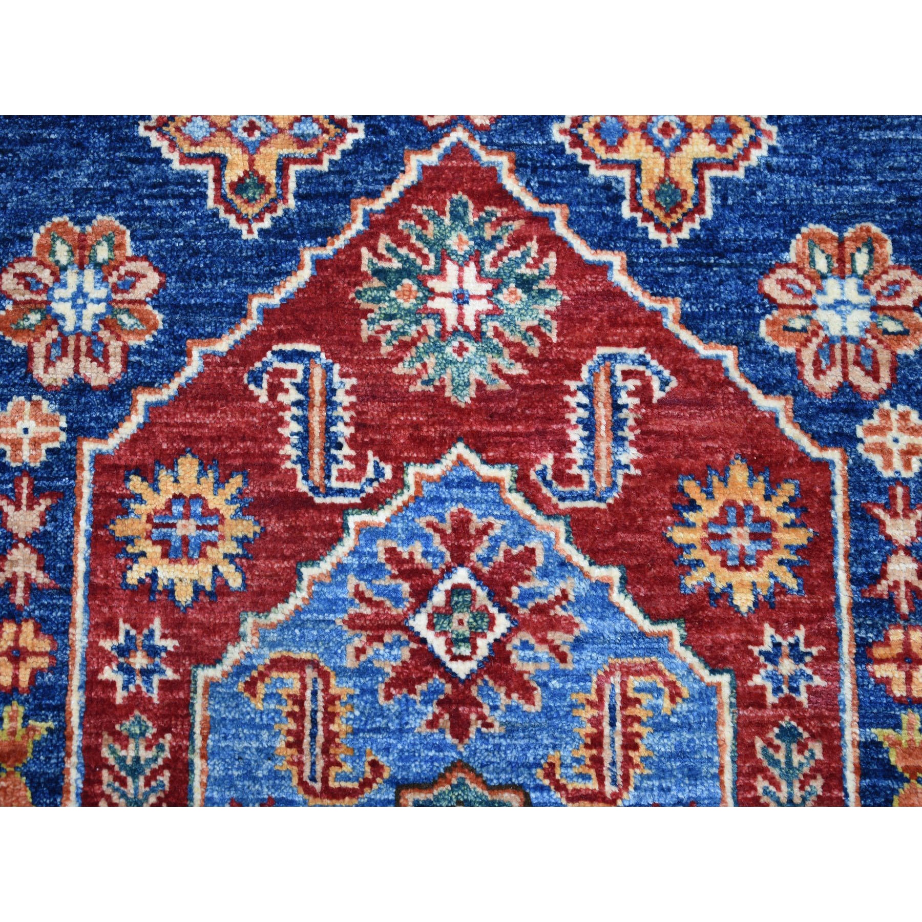 3-3 x5-2  Blue Super Kazak Pure Wool Geometric Design Hand-Knotted Oriental Rug