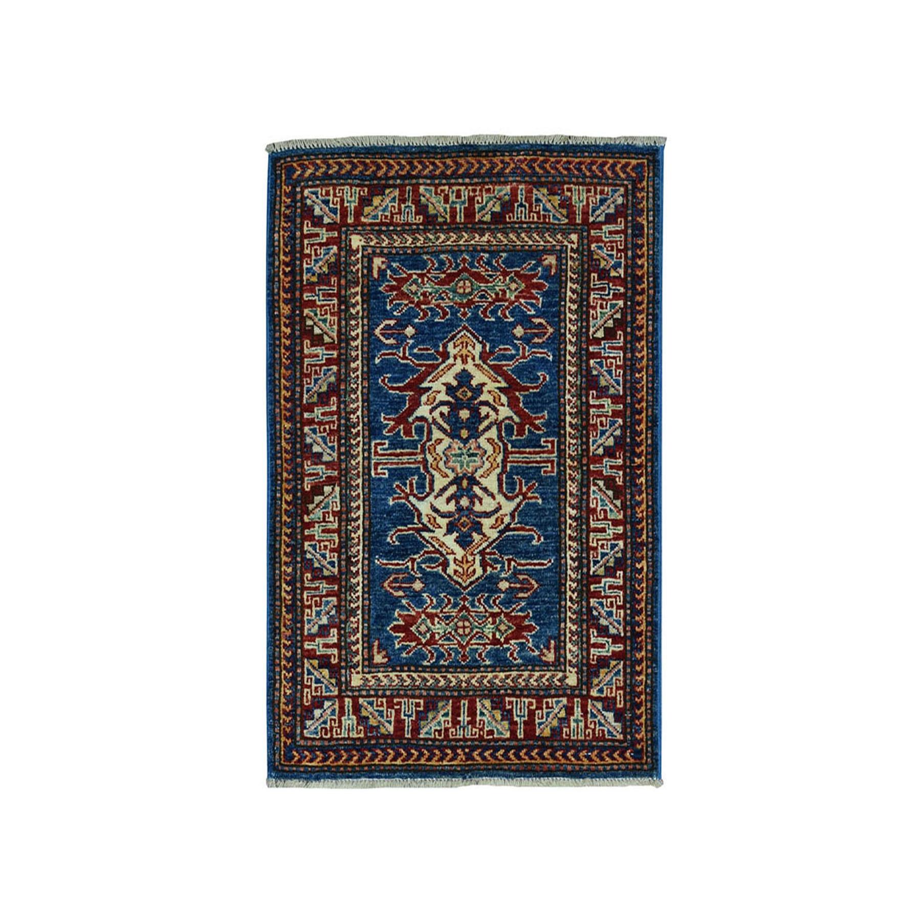 "2'1""x2'9"" Blue Super Kazak Pure Wool Geometric Design Hand-Knotted Oriental Rug 50903"