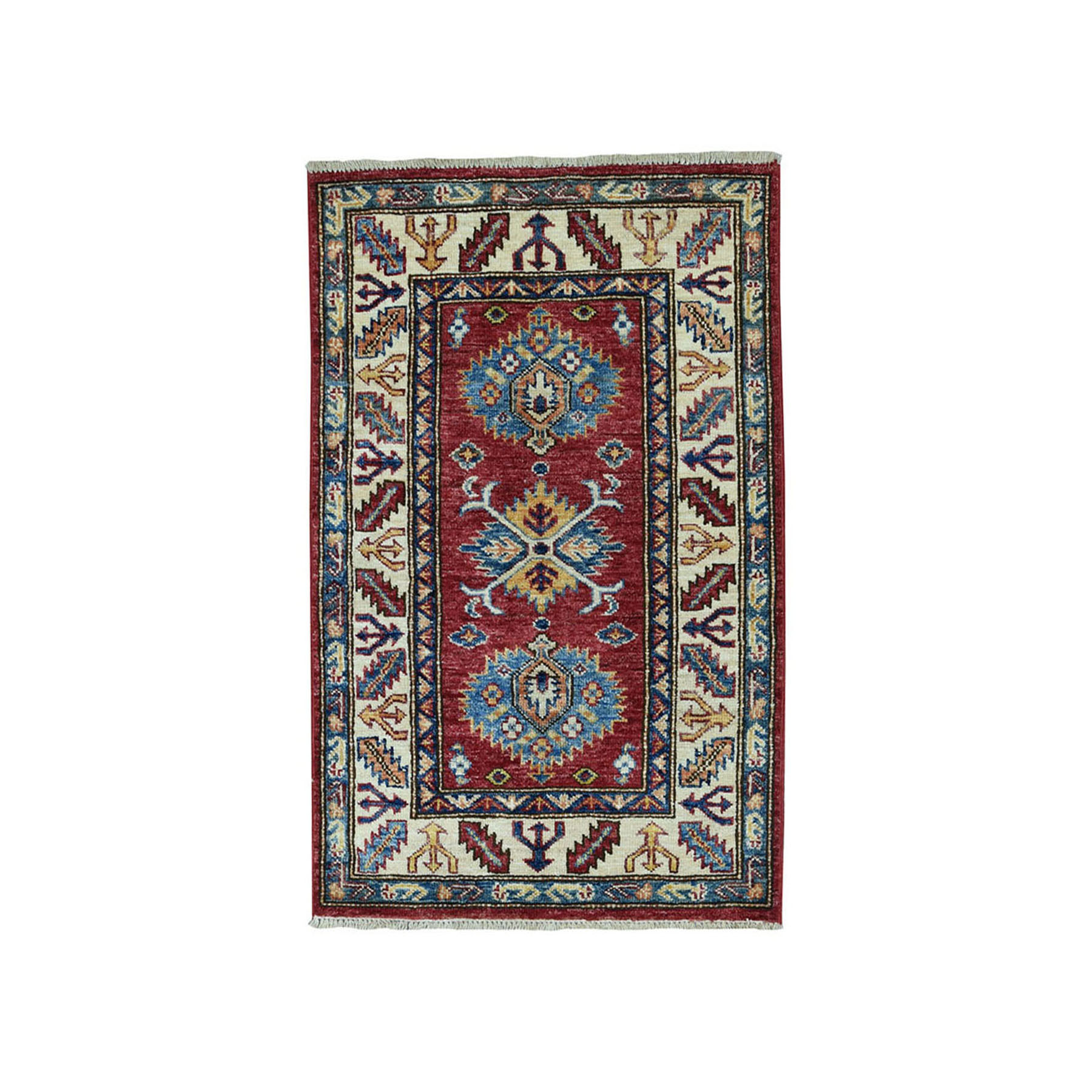 "2'2""X3'2"" Red Super Kazak Pure Wool Geometric Design Hand-Knotted Oriental Rug moae090d"