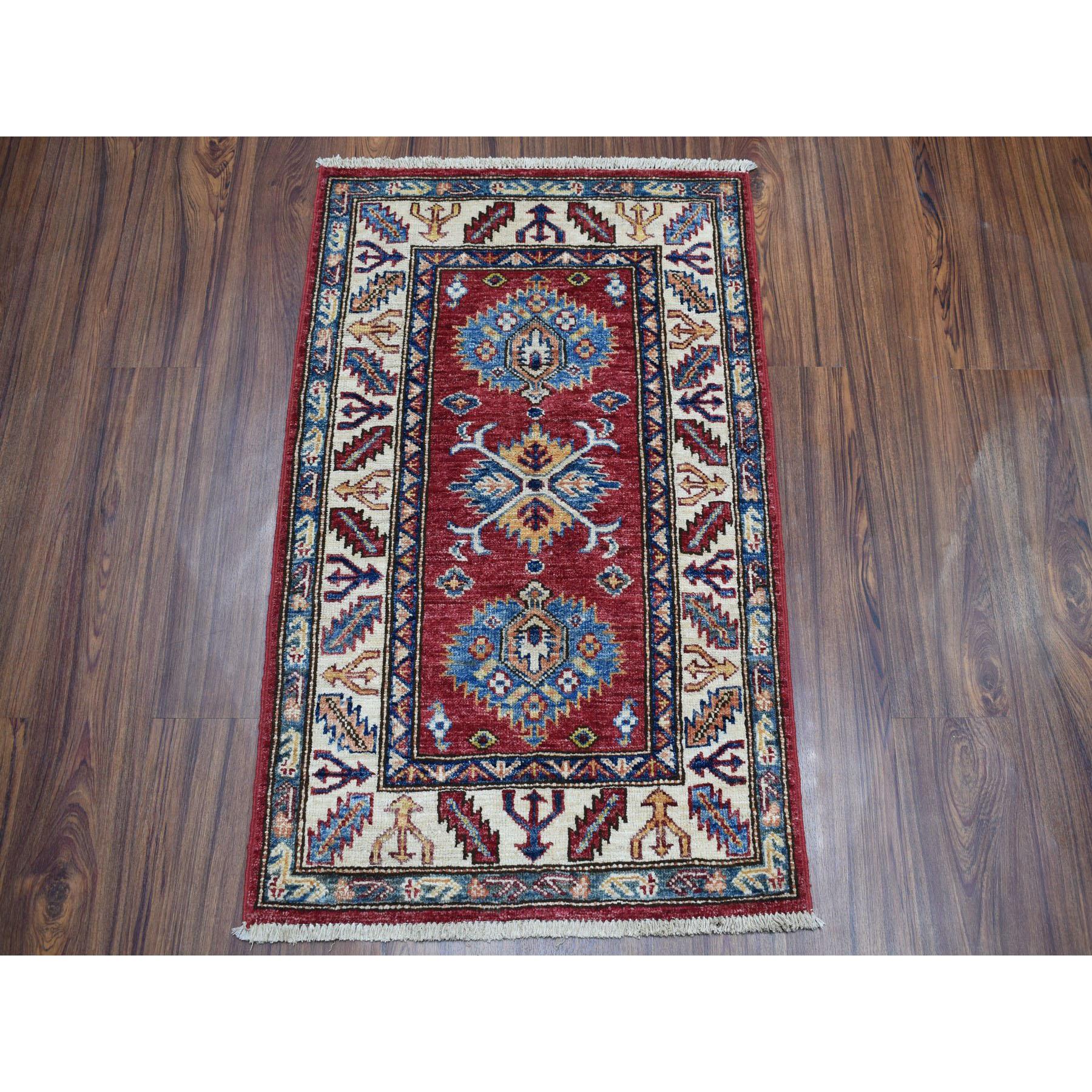 2-2 x3-2  Red Super Kazak Pure Wool Geometric Design Hand-Knotted Oriental Rug