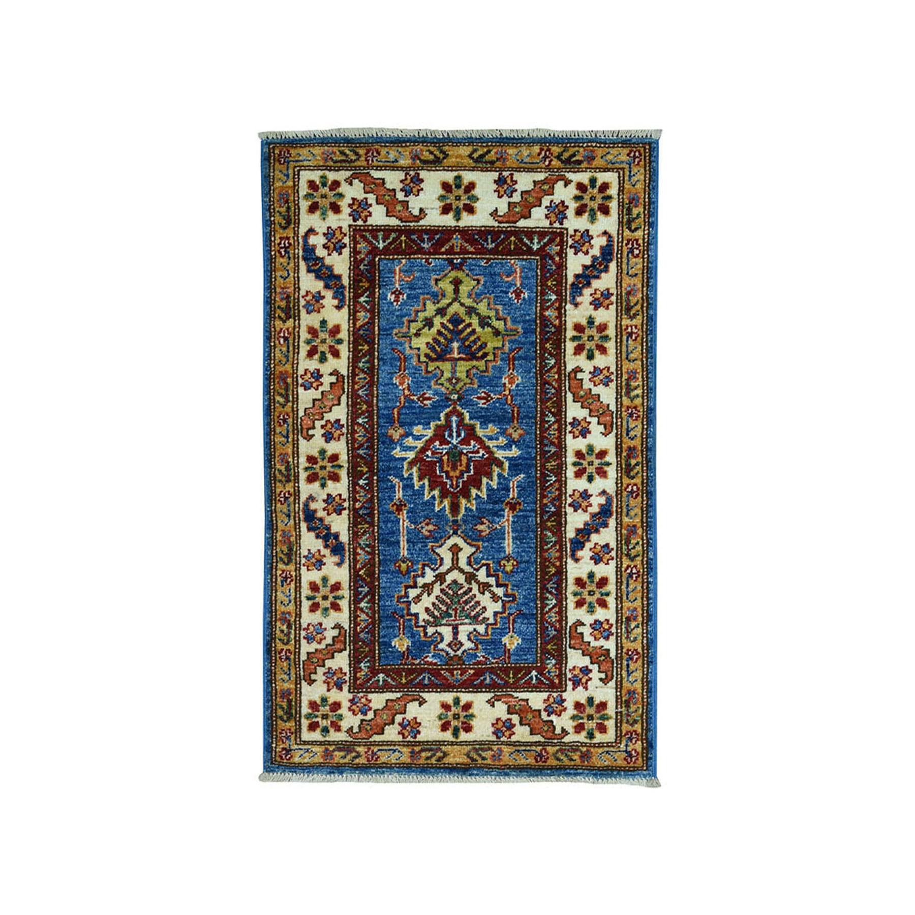 "2'X3'2"" Blue Super Kazak Pure Wool Geometric Design Hand-Knotted Oriental Rug moae090e"