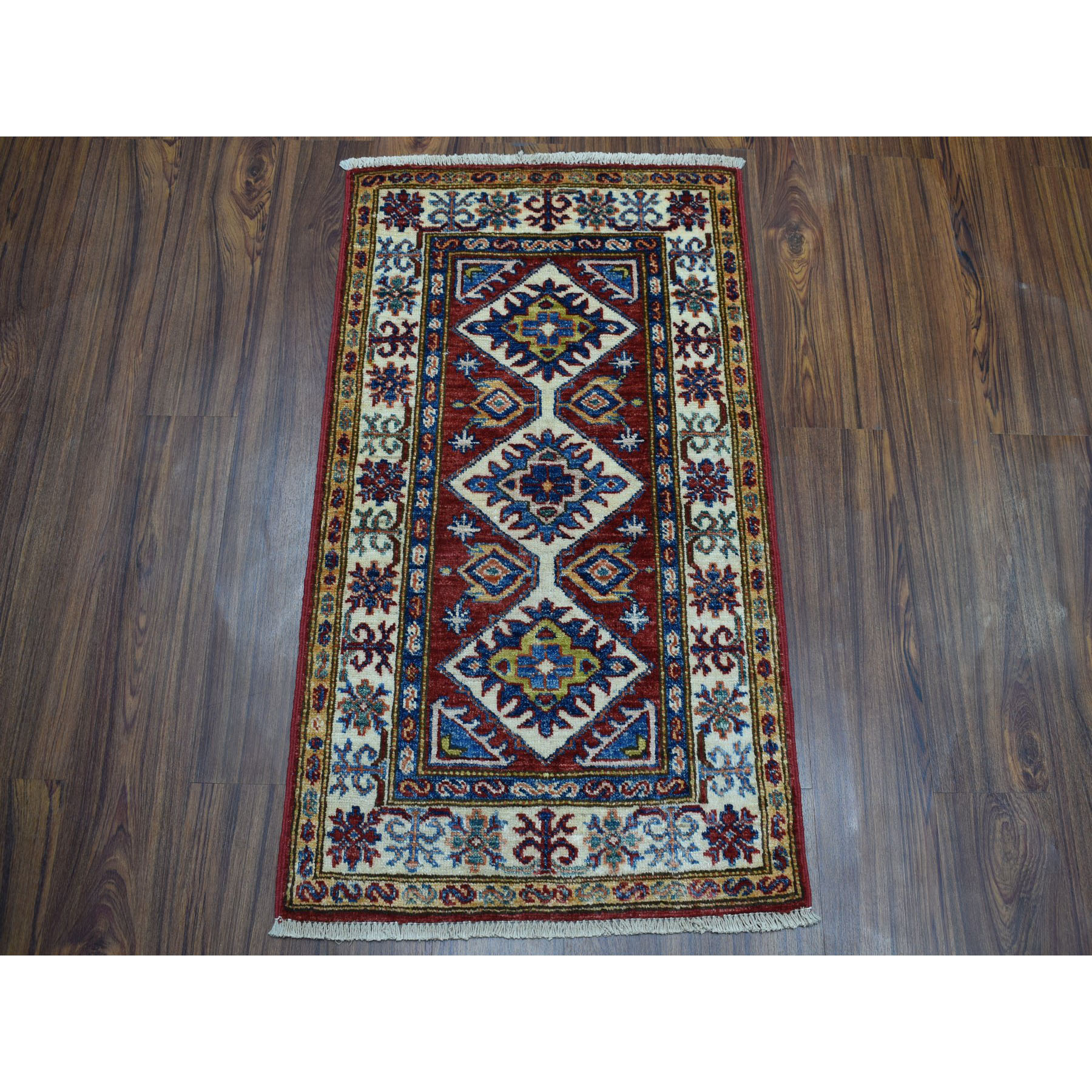 2 X3 2 Red Super Kazak Pure Wool Geometric Design Hand Knotted Oriental Rug