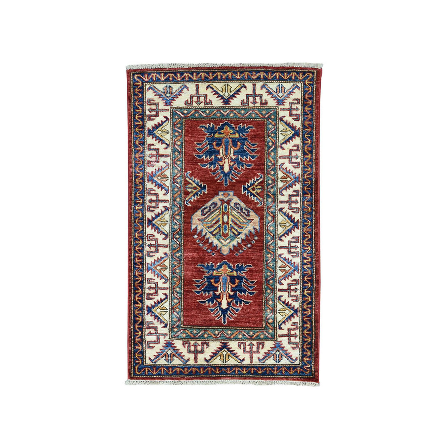 "1'10""X3'1"" Red Super Kazak Pure Wool Geometric Design Hand-Knotted Oriental Rug moae0907"