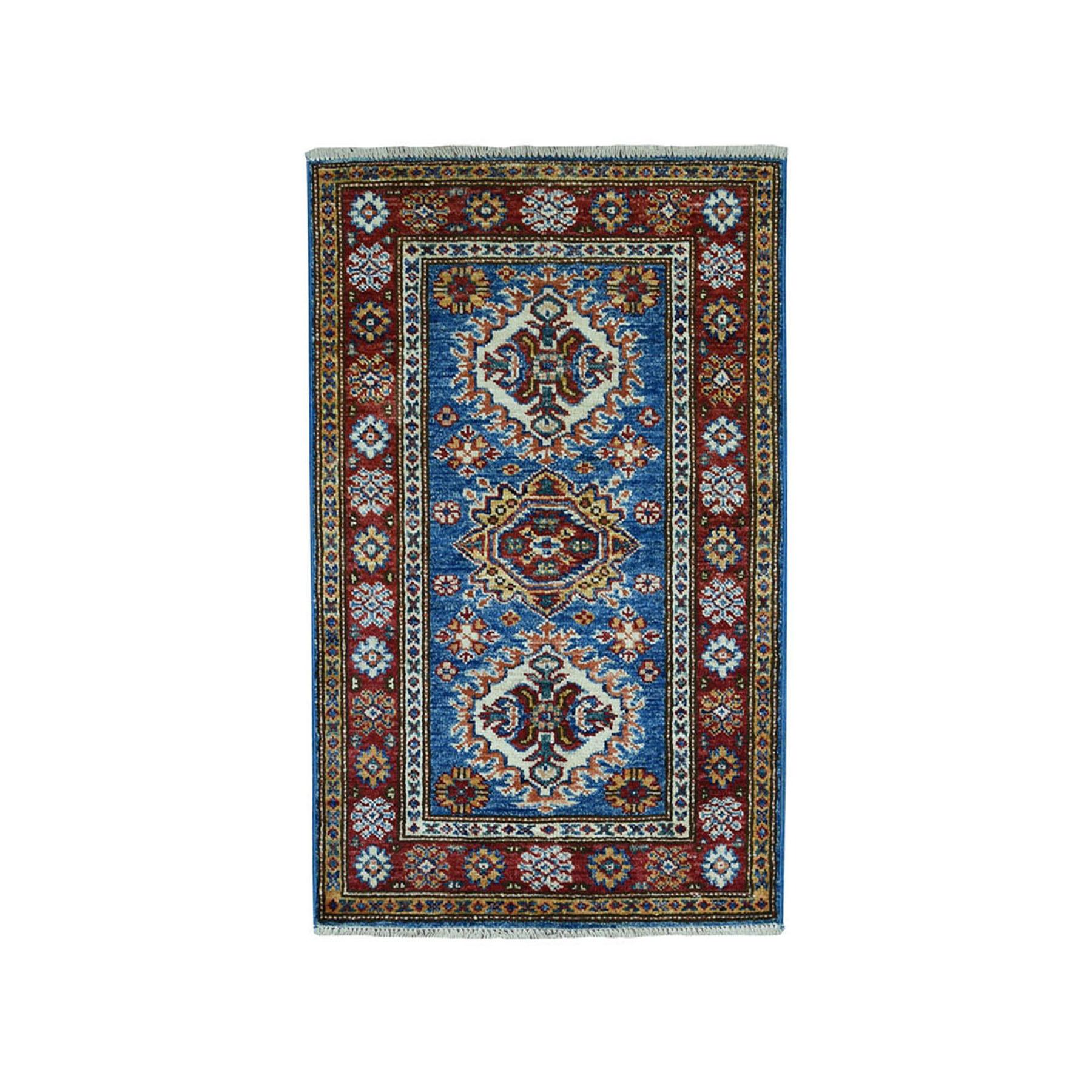"2'X3'2"" Blue Super Kazak Pure Wool Geometric Design Hand-Knotted Oriental Rug moae0909"