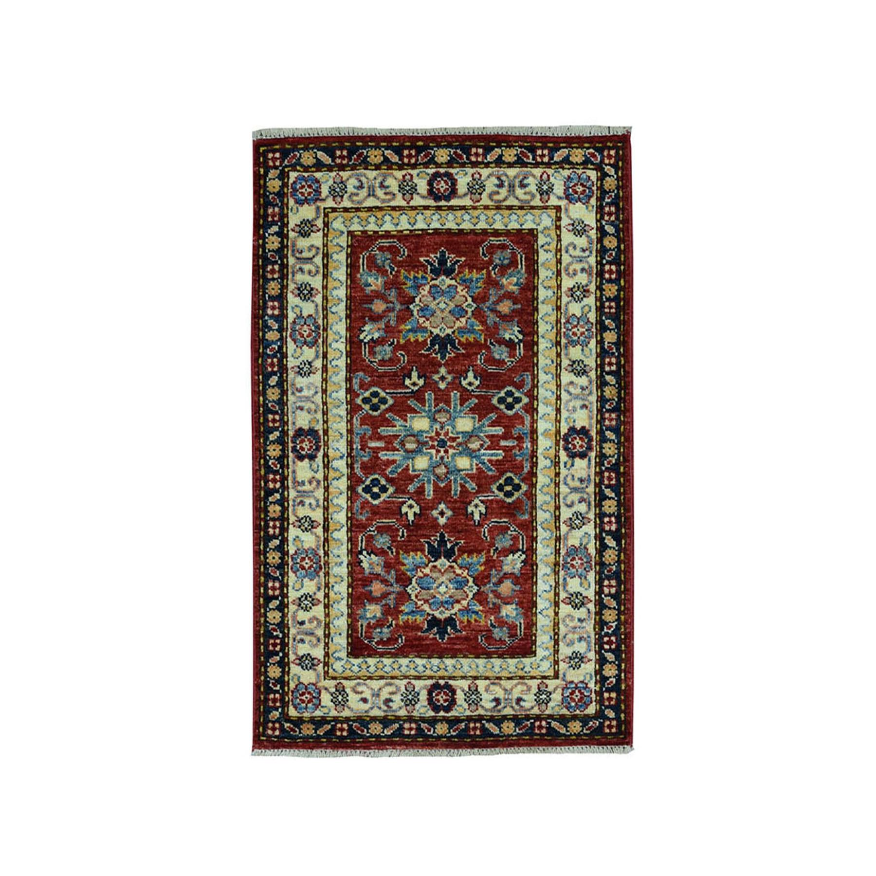 2'X3' Red Super Kazak Pure Wool Geometric Design Hand-Knotted Oriental Rug moae09a0