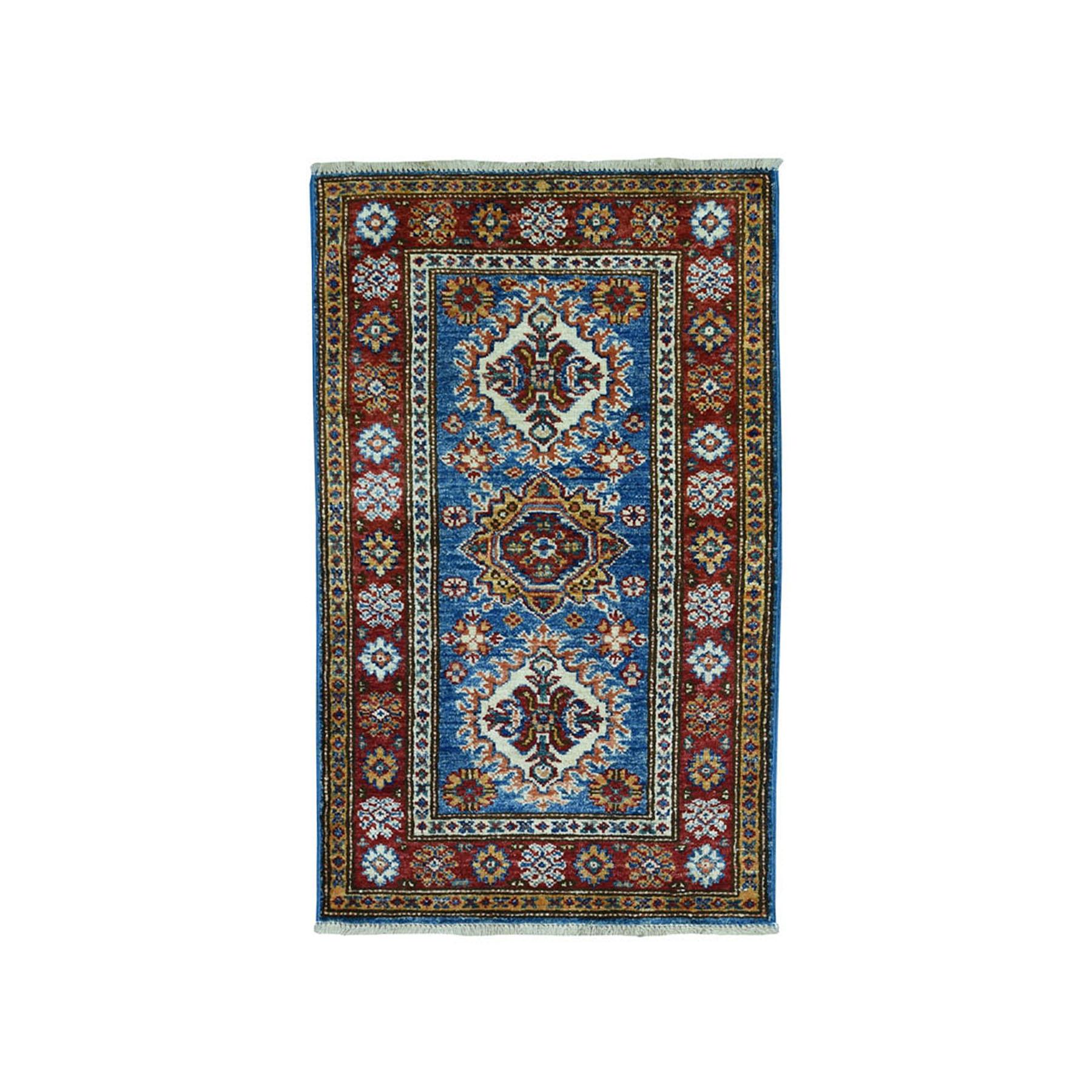 "1'10""X3'2"" Blue Super Kazak Pure Wool Geometric Design Hand-Knotted Oriental Rug moae09aa"