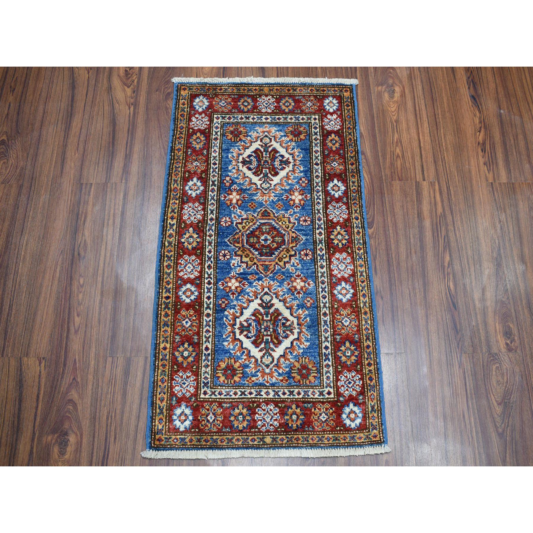 1-10 x3-2  Blue Super Kazak Pure Wool Geometric Design Hand-Knotted Oriental Rug