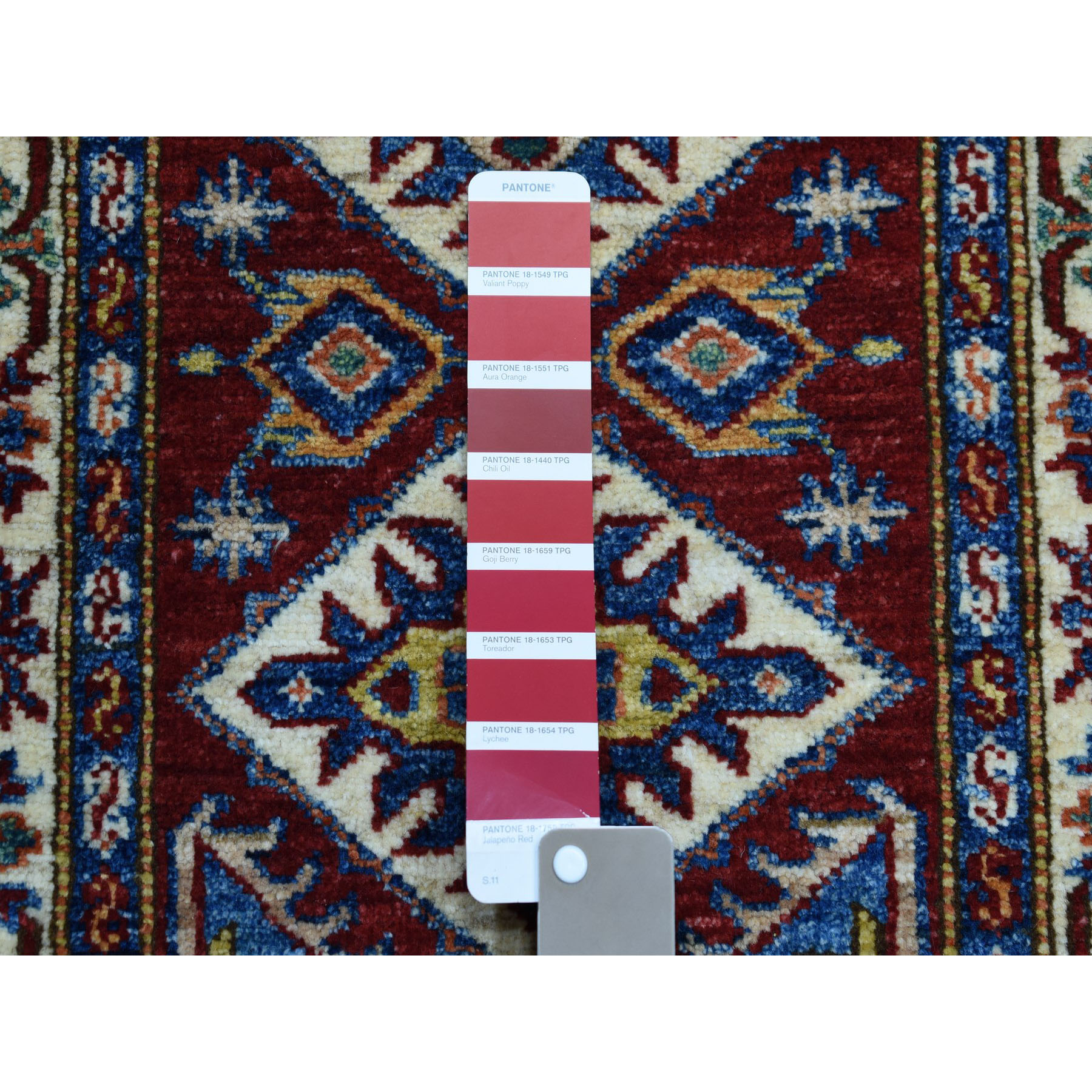1-10 x3- Red Super Kazak Pure Wool Geometric Design Hand-Knotted Oriental Rug