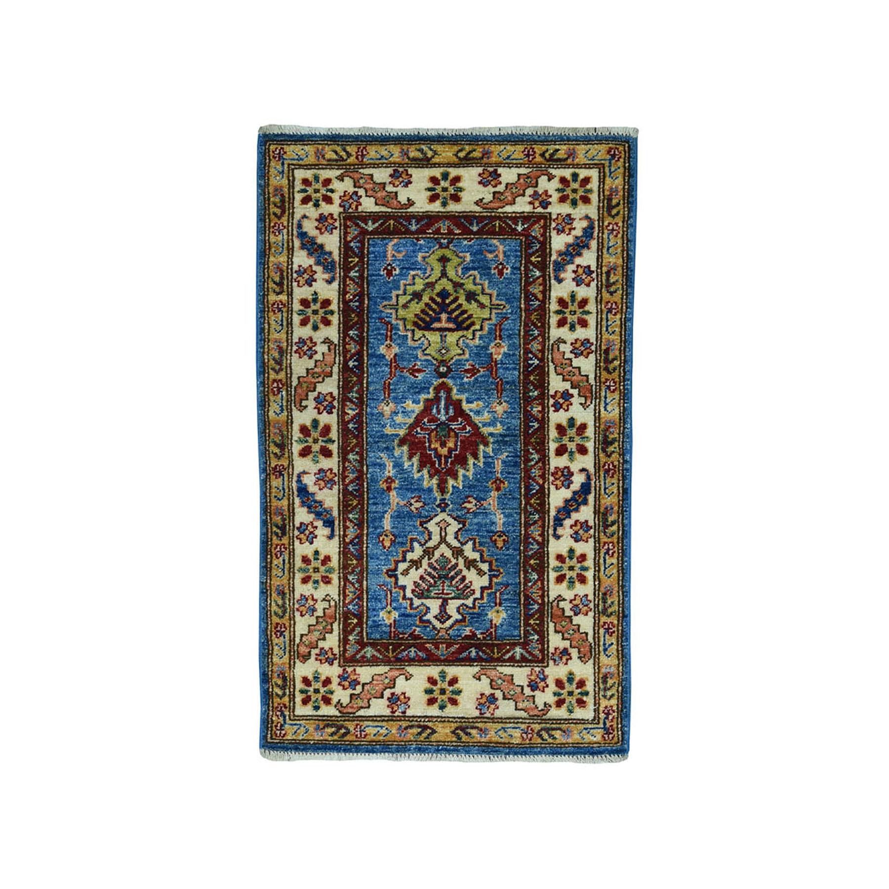 "2'X3'6"" Blue Super Kazak Pure Wool Geometric Design Hand-Knotted Oriental Rug moae09ac"