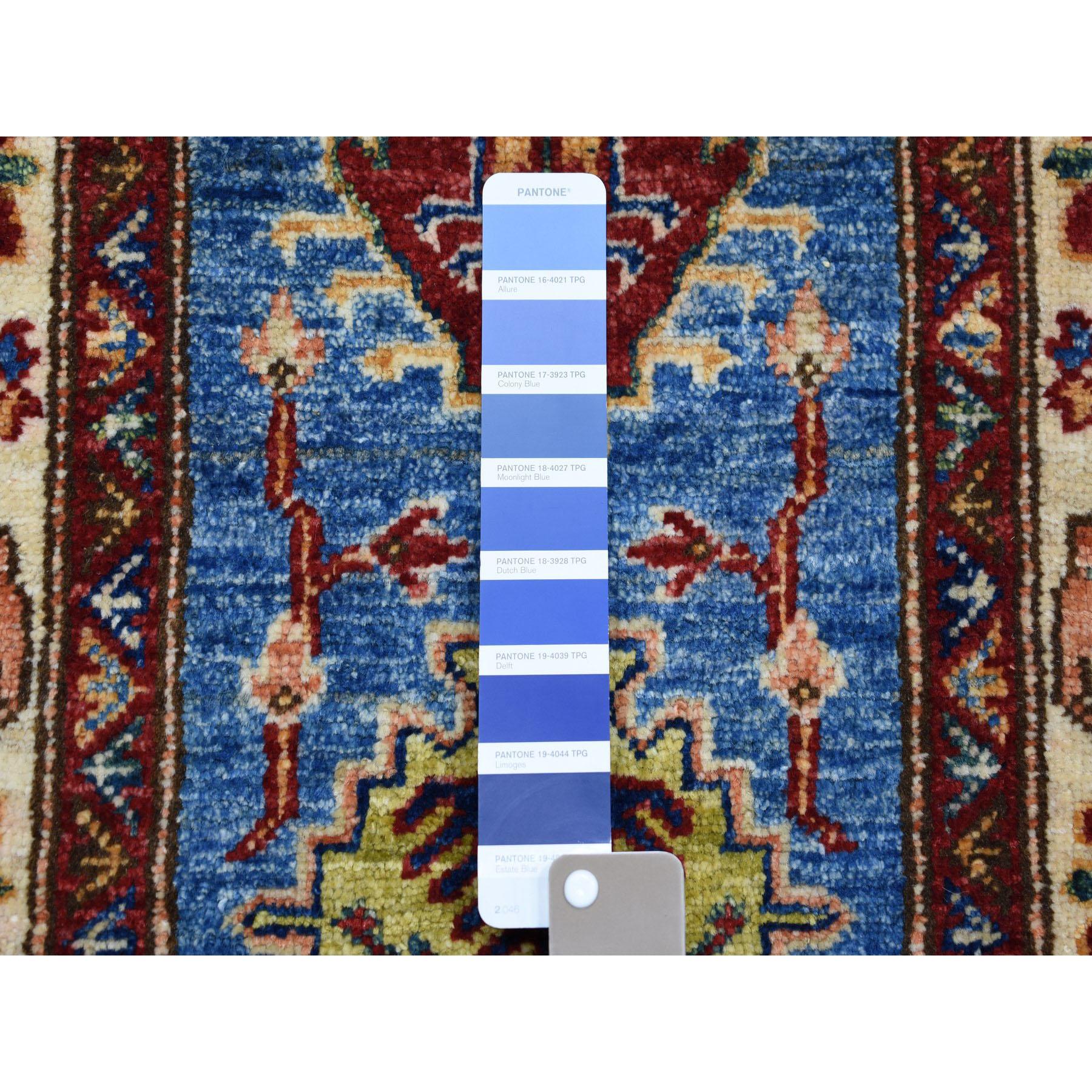 2-x3-6  Blue Super Kazak Pure Wool Geometric Design Hand-Knotted Oriental Rug