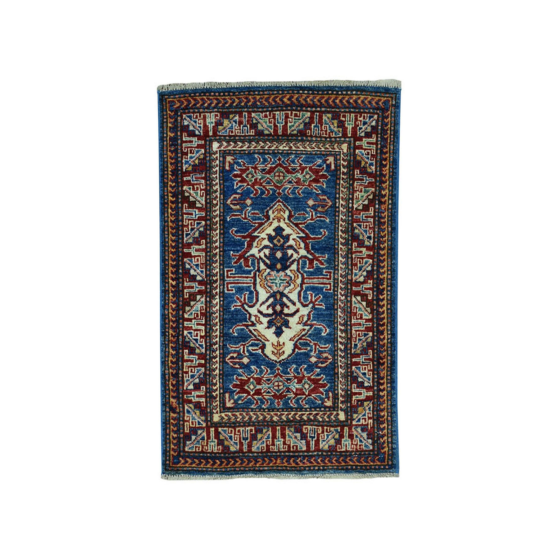 "2'X2'10"" Blue Super Kazak Pure Wool Geometric Design Hand-Knotted Oriental Rug moae09ad"