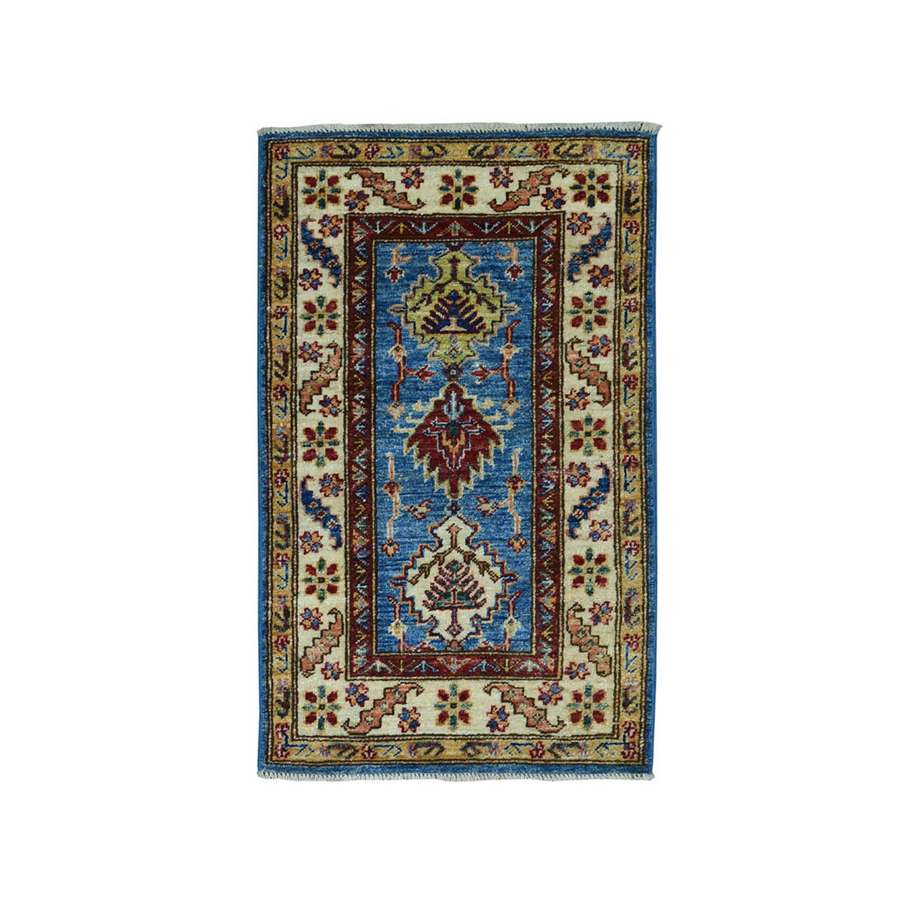 "2'X3'6"" Blue Super Kazak Pure Wool Geometric Design Hand-Knotted Oriental Rug moae09ae"